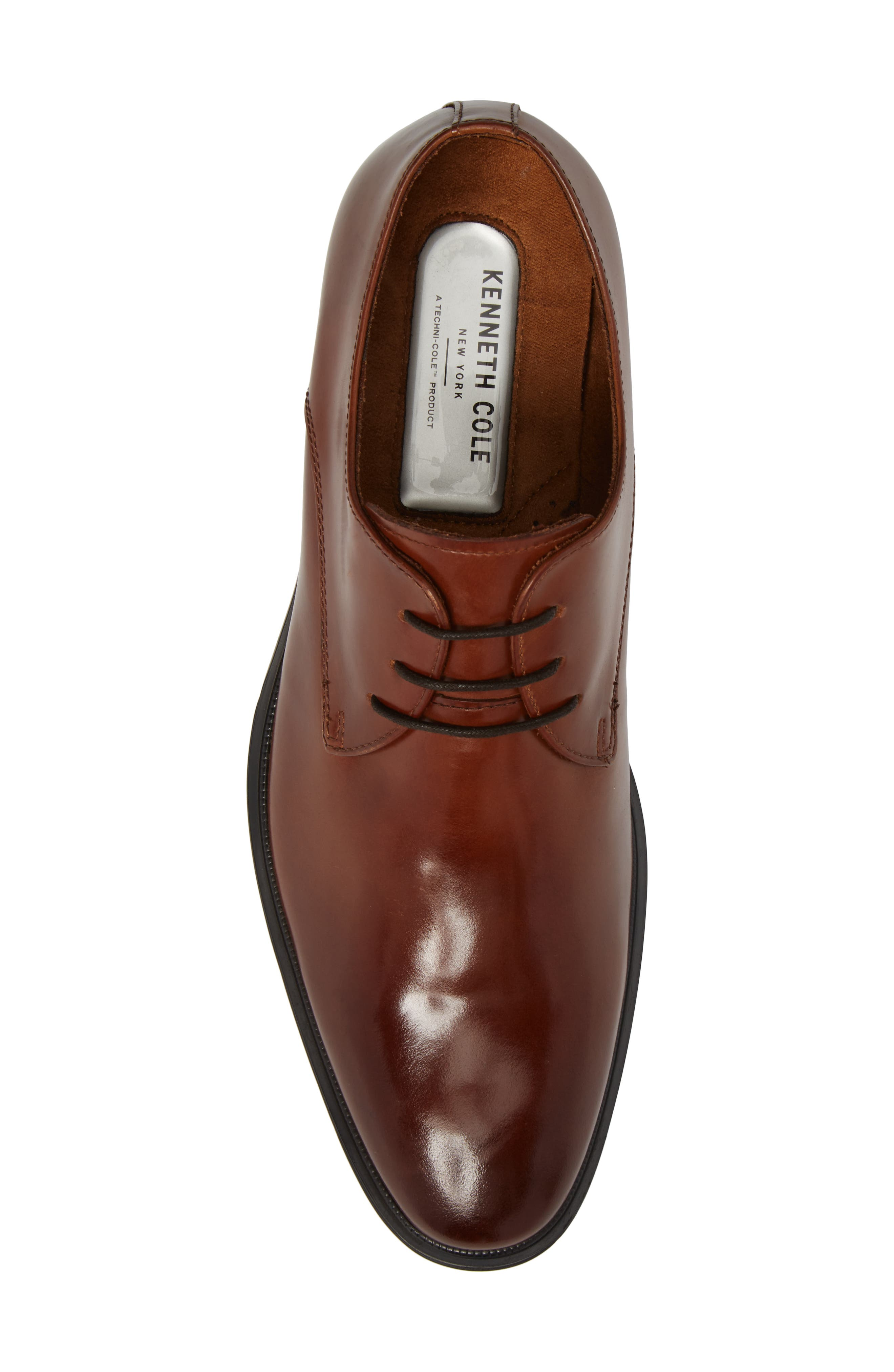 Kenneth Cole Tully Plain Toe Derby,                             Alternate thumbnail 5, color,                             Cognac Leather