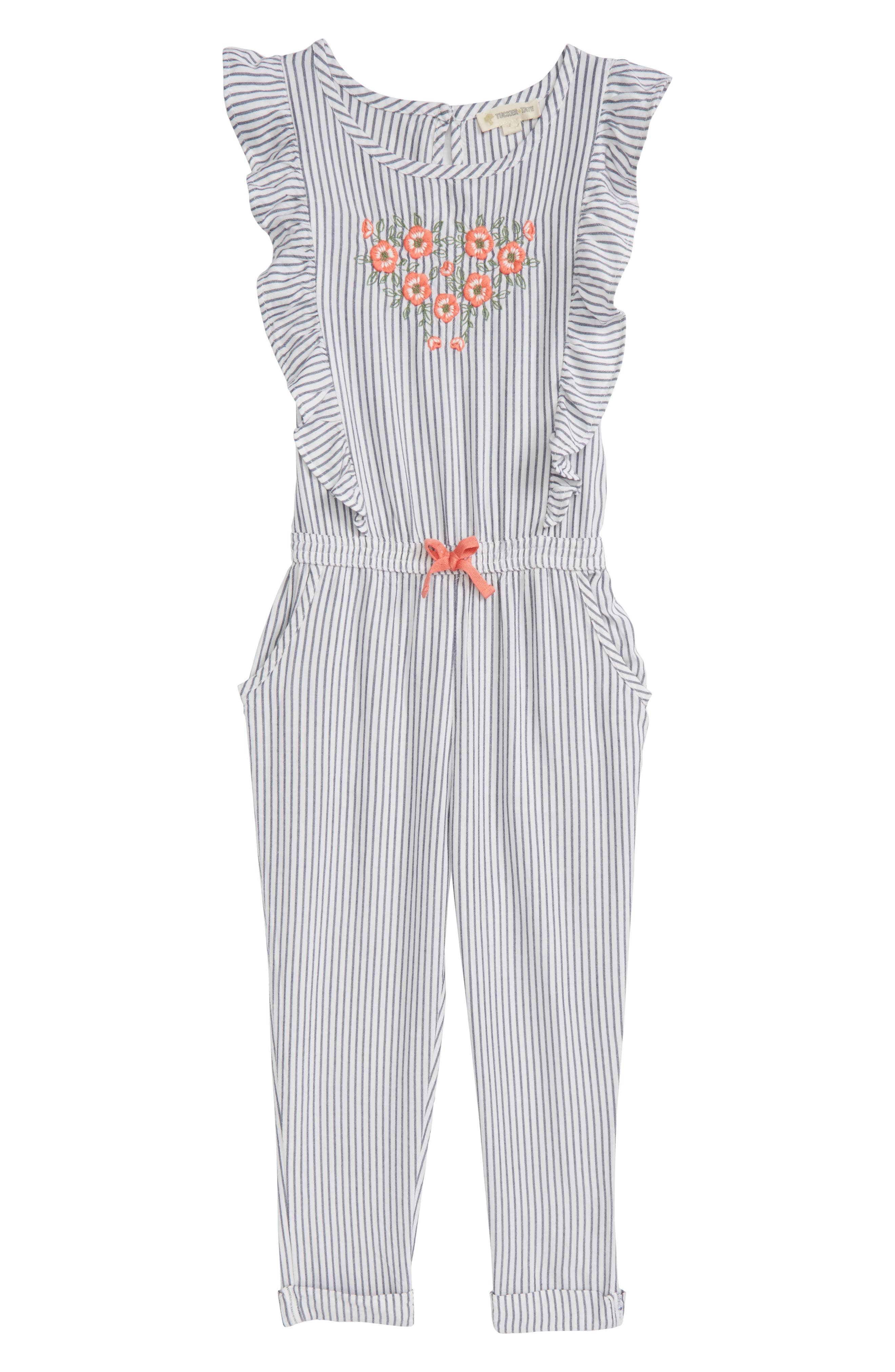 Flutter Sleeve Embroidered Romper,                         Main,                         color, White- Blue Stripe