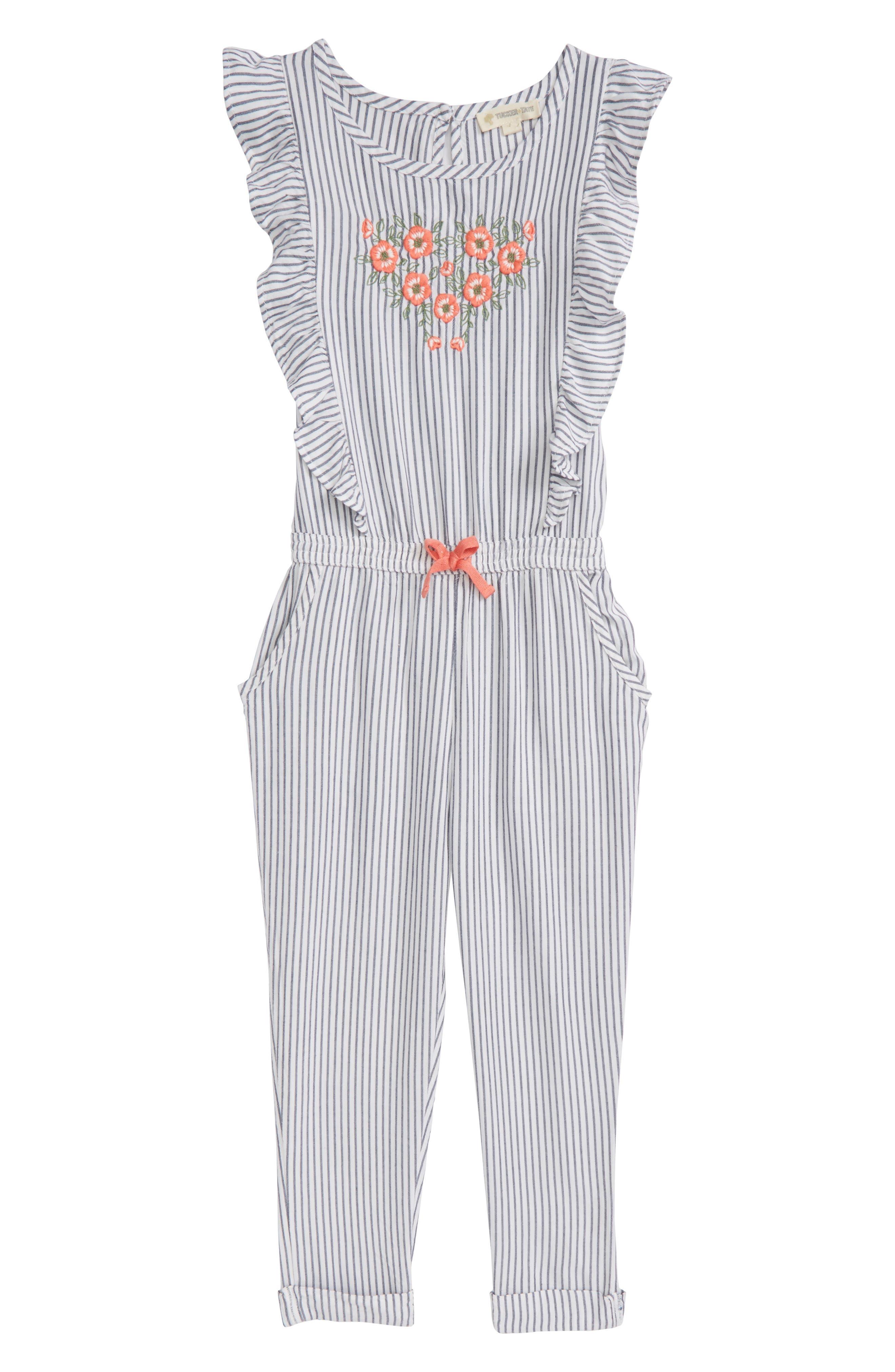 Tucker + Tate Flutter Sleeve Embroidered Romper (Toddler Girls, Little Girls & Big Girls)
