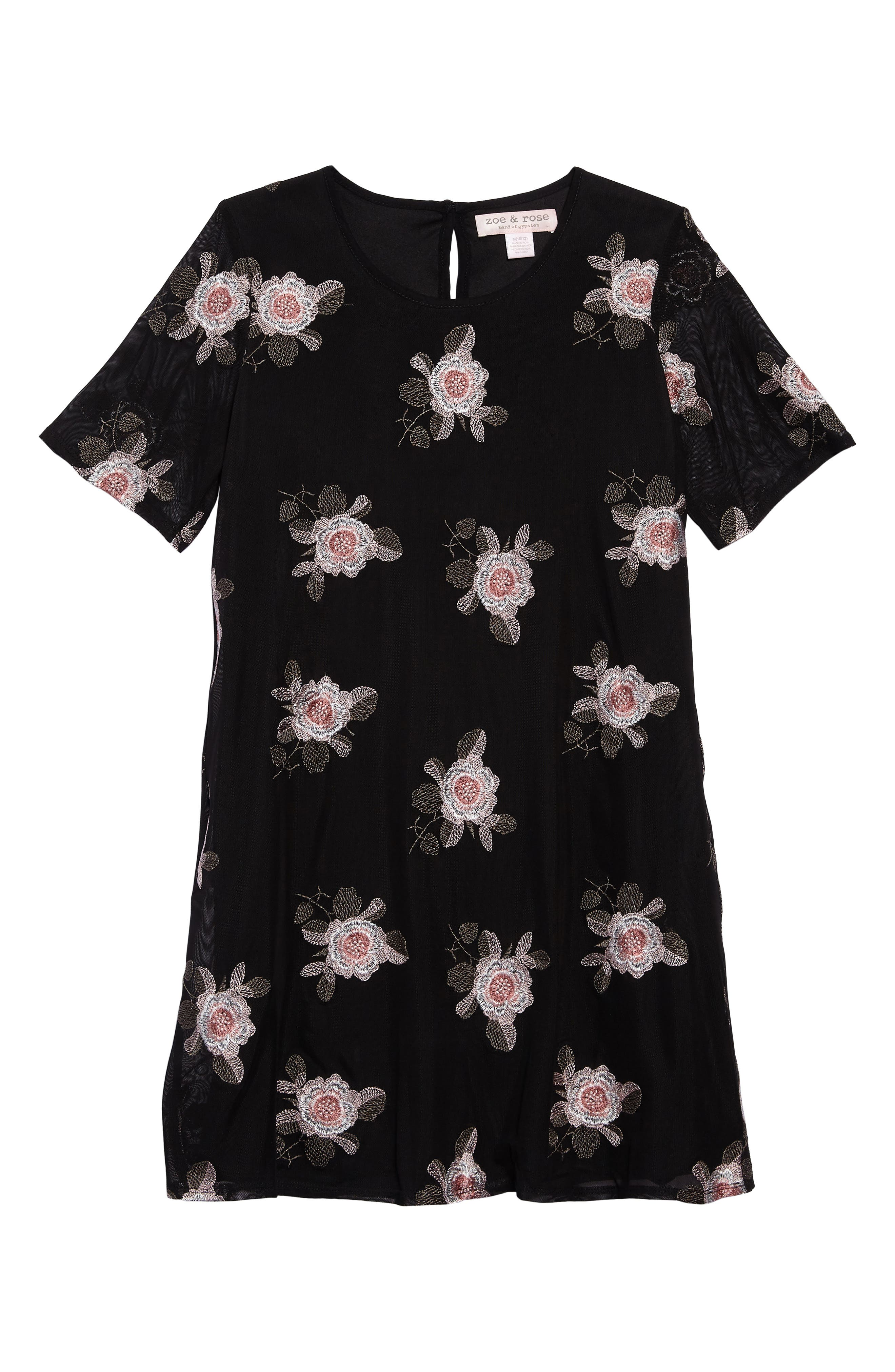Flower Embroidered Mesh Dress,                         Main,                         color, Black/ Coral