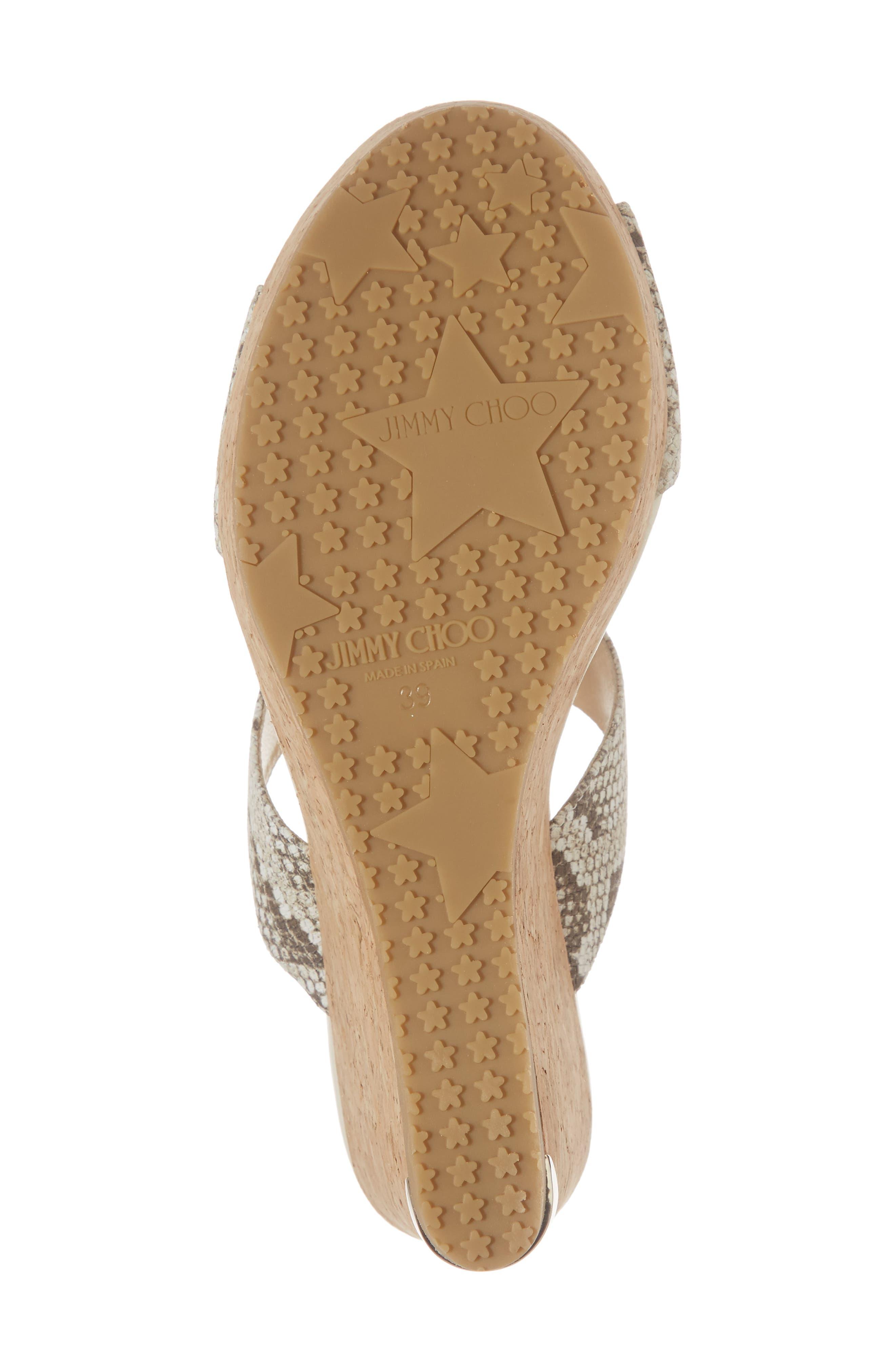 Parker Platform Wedge Sandal,                             Alternate thumbnail 6, color,                             Natural/ Snakeprint