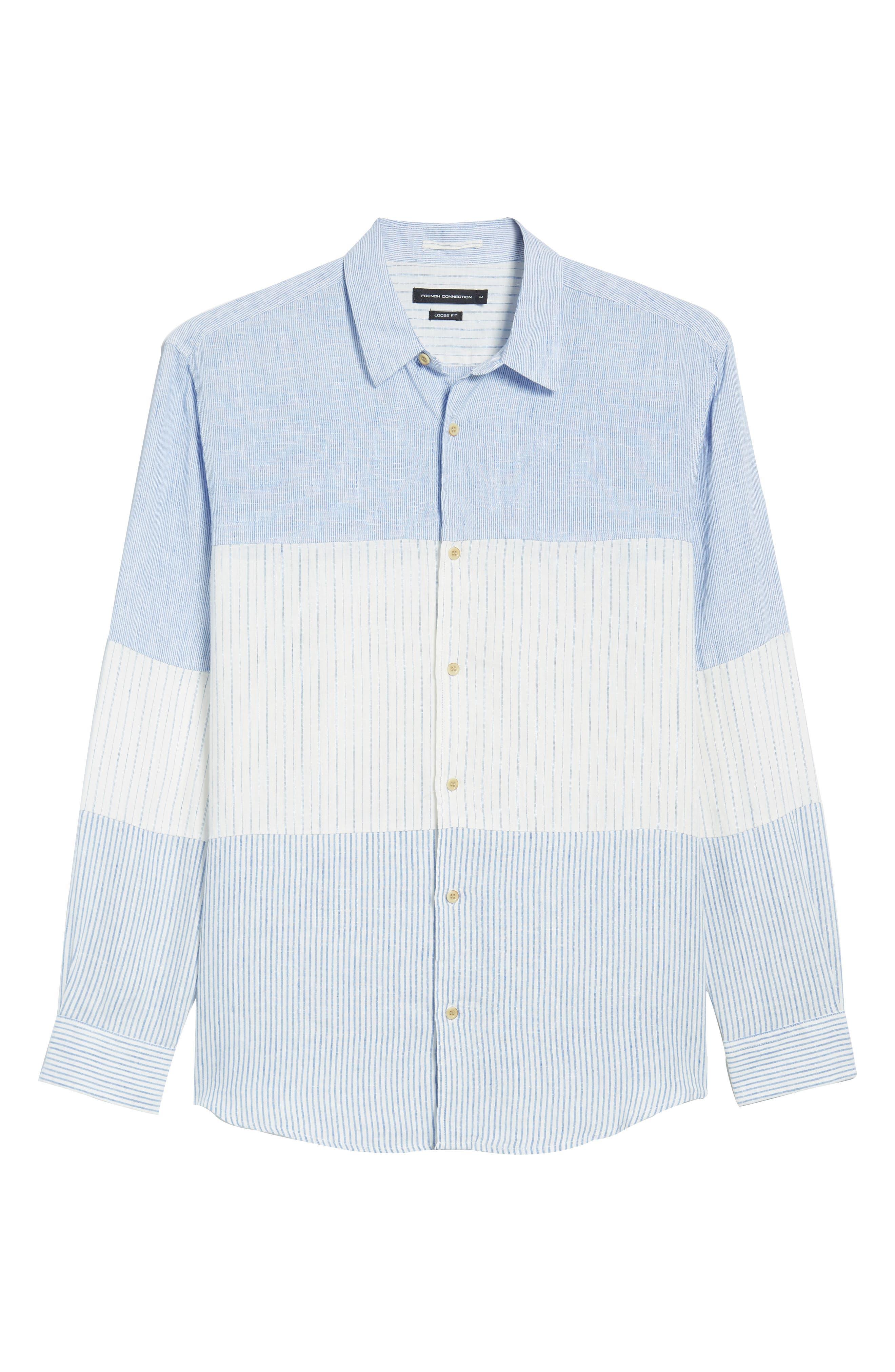 Relaxed Fit Stripe Linen & Cotton Sport Shirt,                             Alternate thumbnail 6, color,                             Rich Blue Stripes