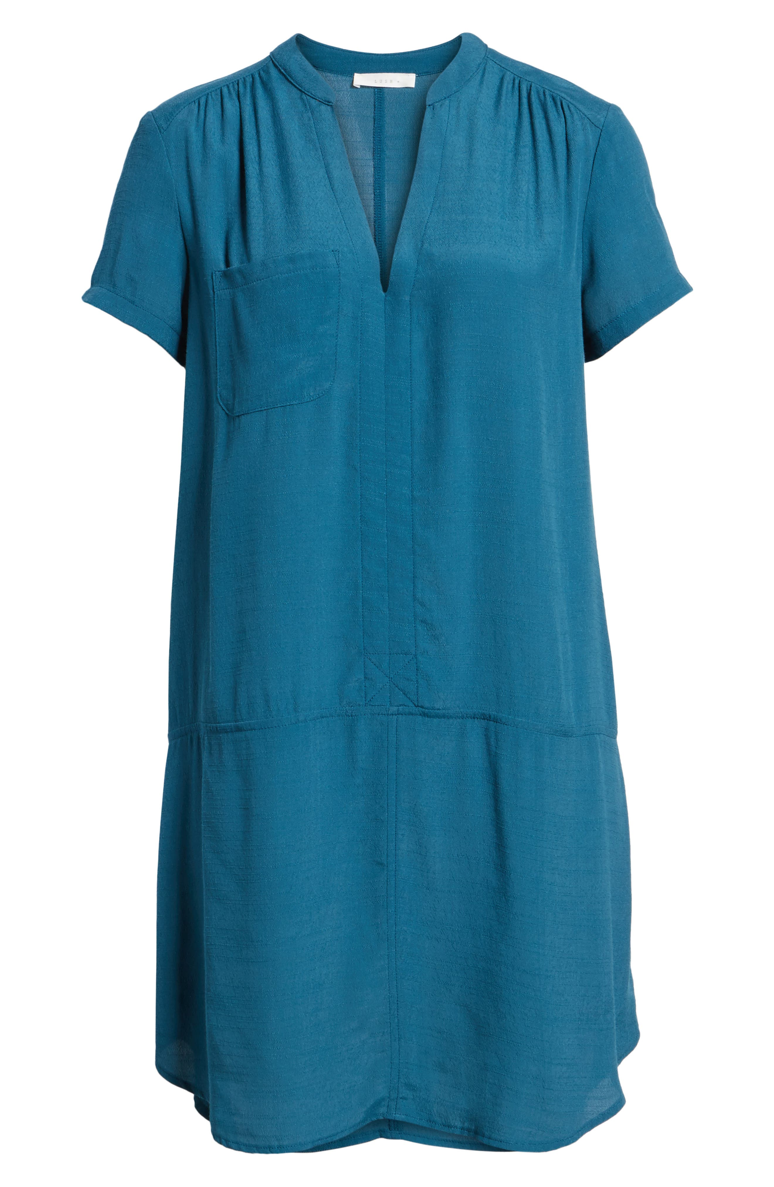 Split Neck Shift Dress,                             Alternate thumbnail 6, color,                             Legion Blue