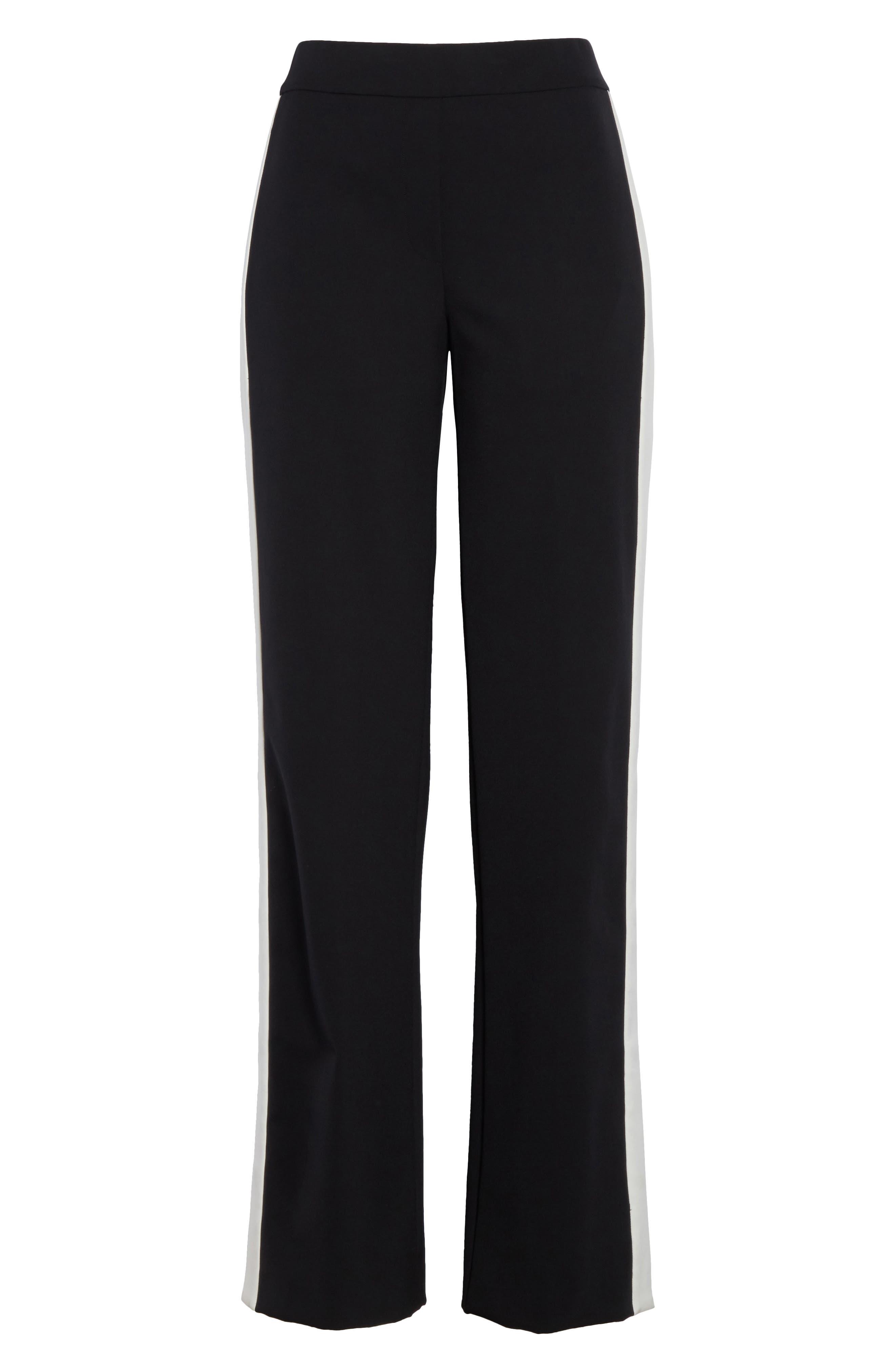Snap Side Track Pants,                             Alternate thumbnail 6, color,                             Black/ Ivory