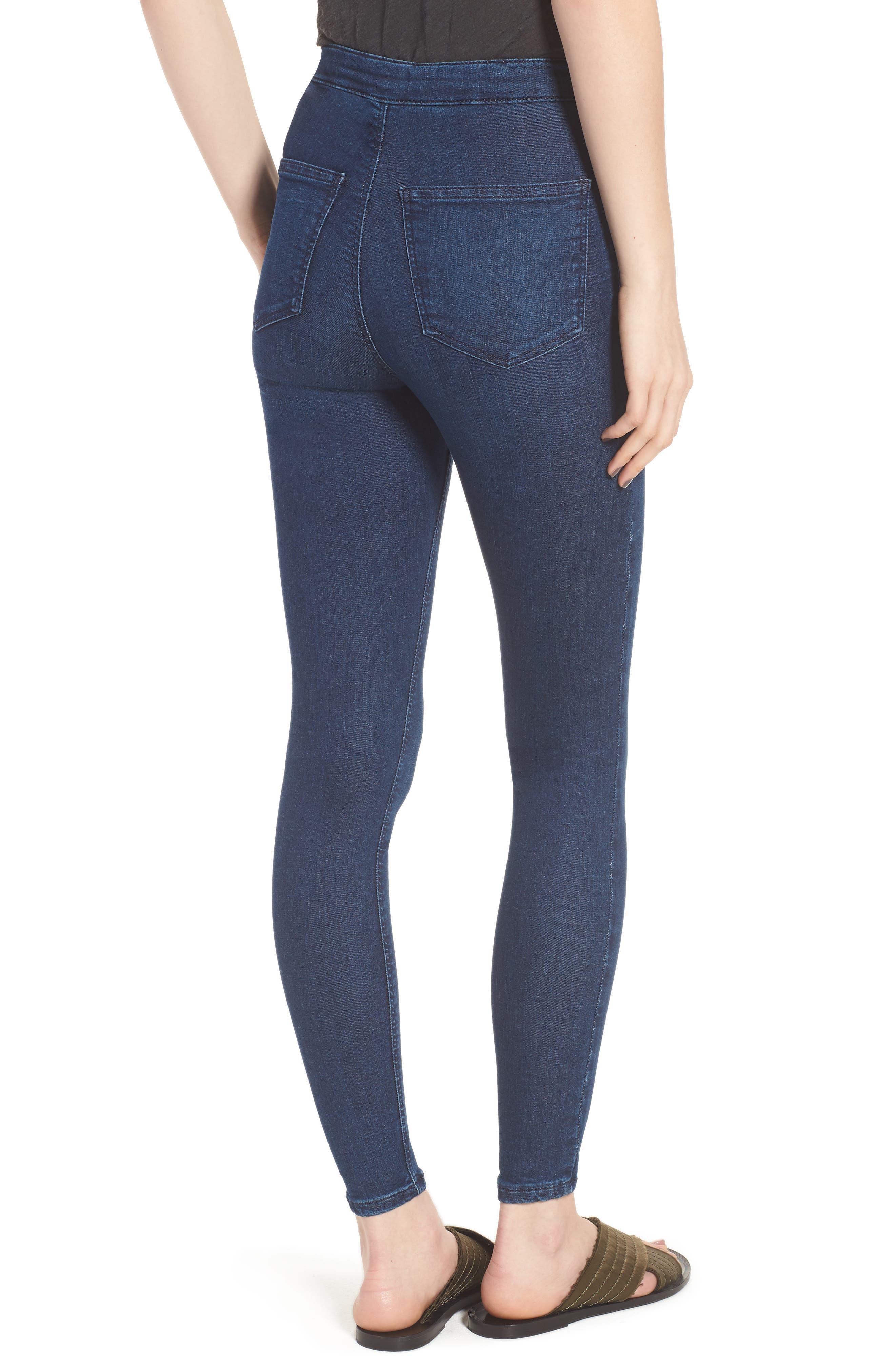 Moto 'Joni' Super Skinny Jeans,                             Alternate thumbnail 2, color,                             Navy Blue