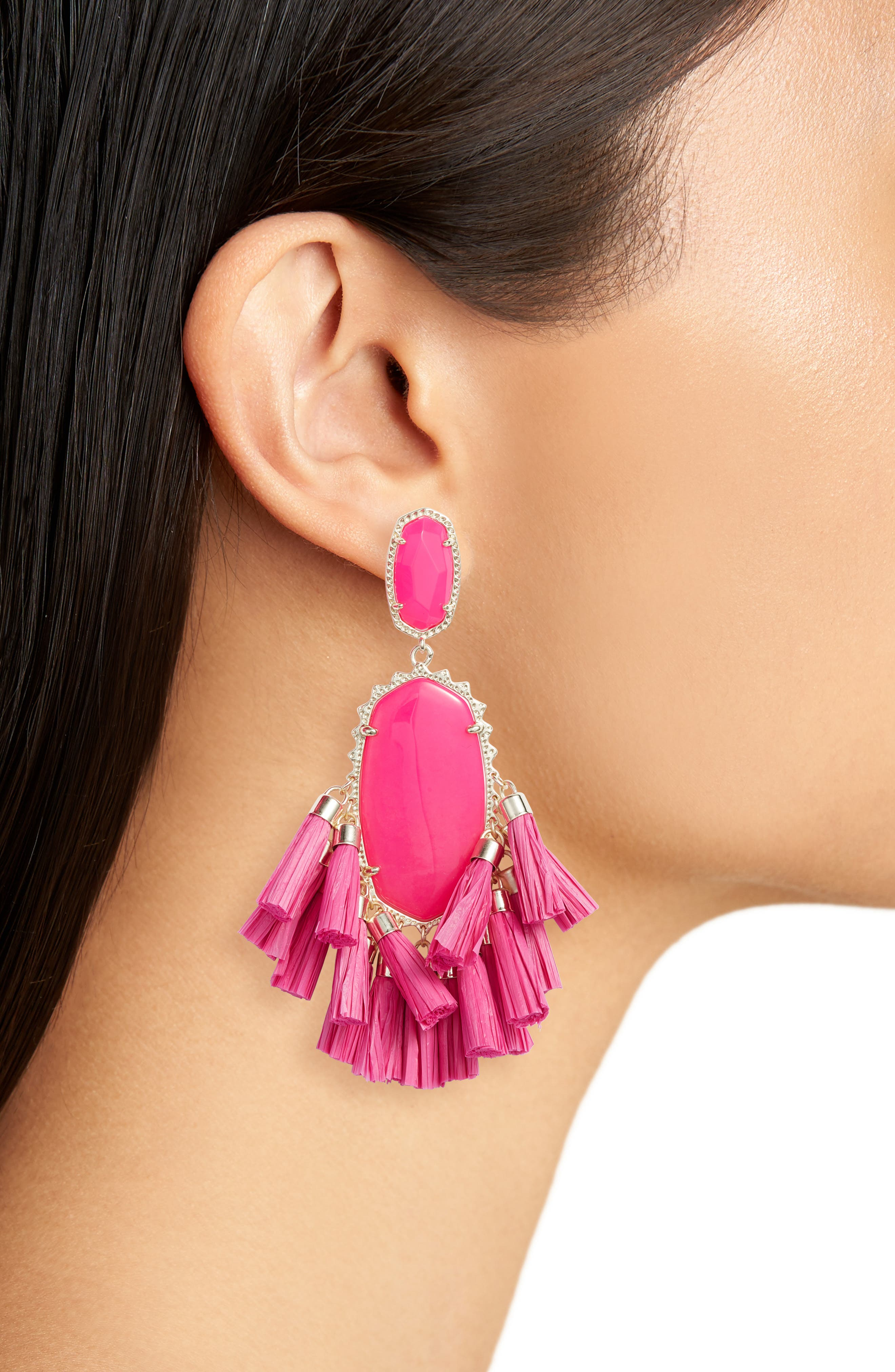 Cristina Stone Tassel Earrings,                             Alternate thumbnail 2, color,                             Pink Unbanded Agate/ Gold