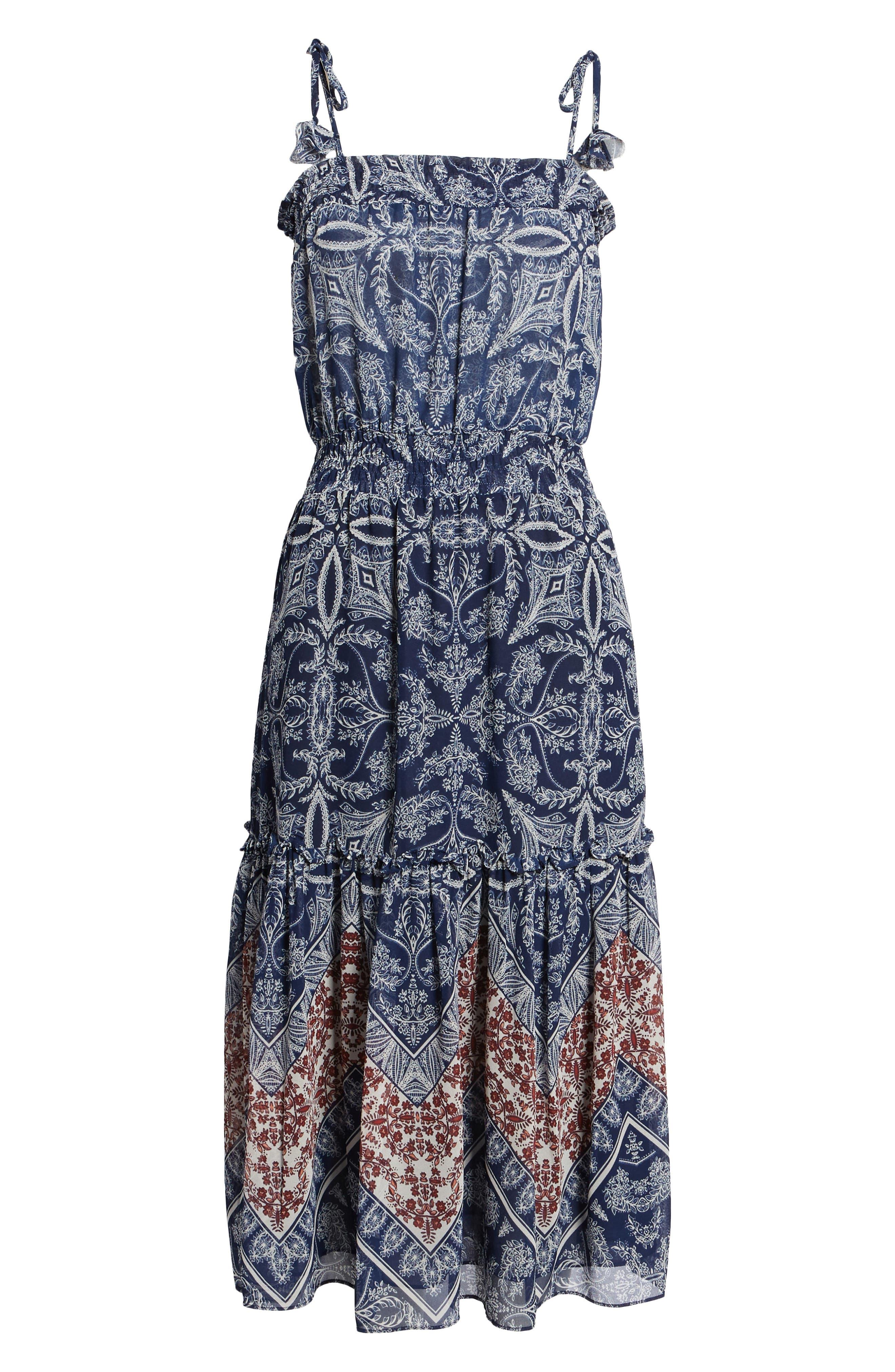Adel Print Midi Dress,                             Alternate thumbnail 6, color,                             Blue Fe3