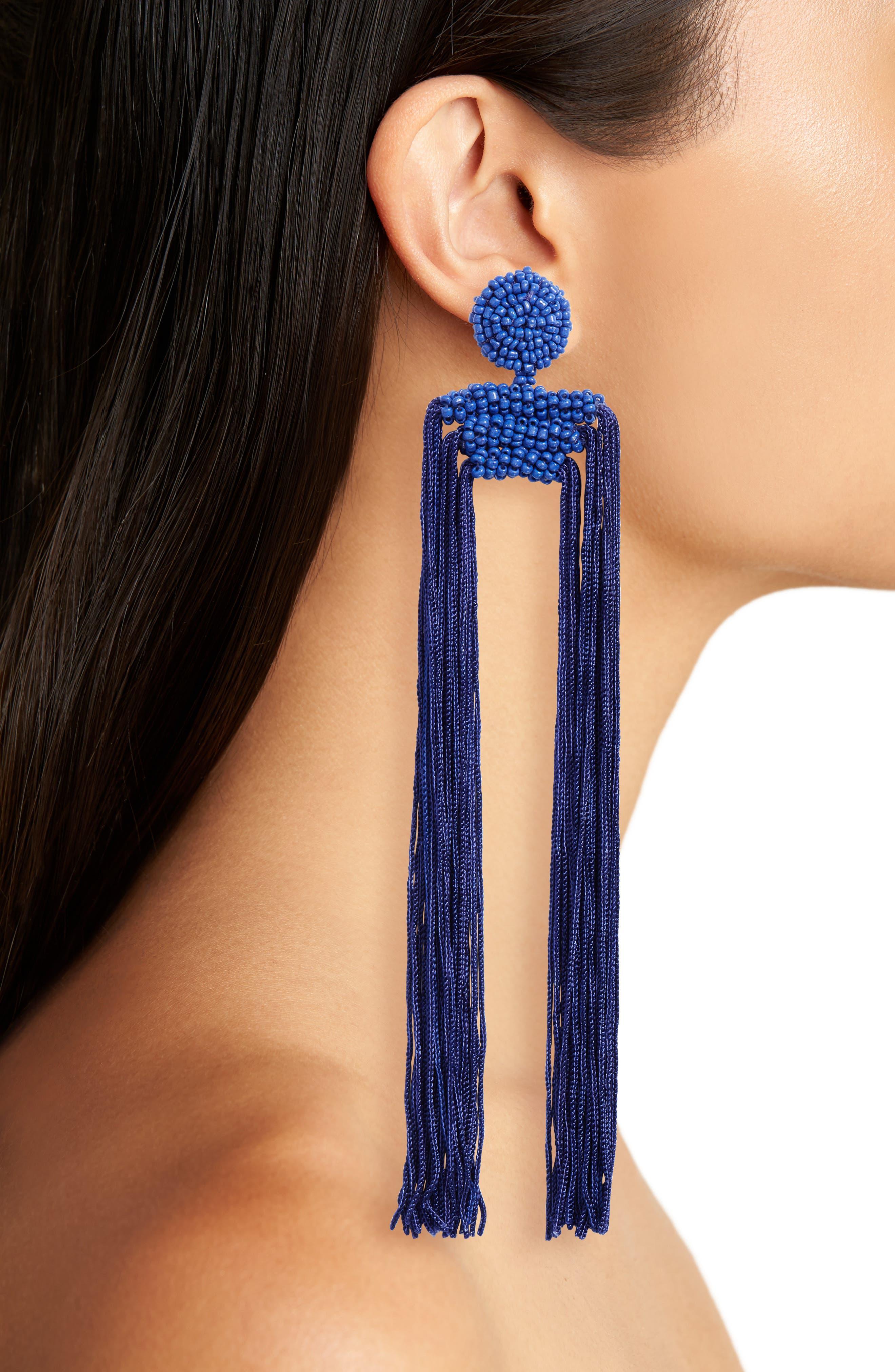 Tropicana Long Tassel Earrings,                             Alternate thumbnail 2, color,                             Cobalt
