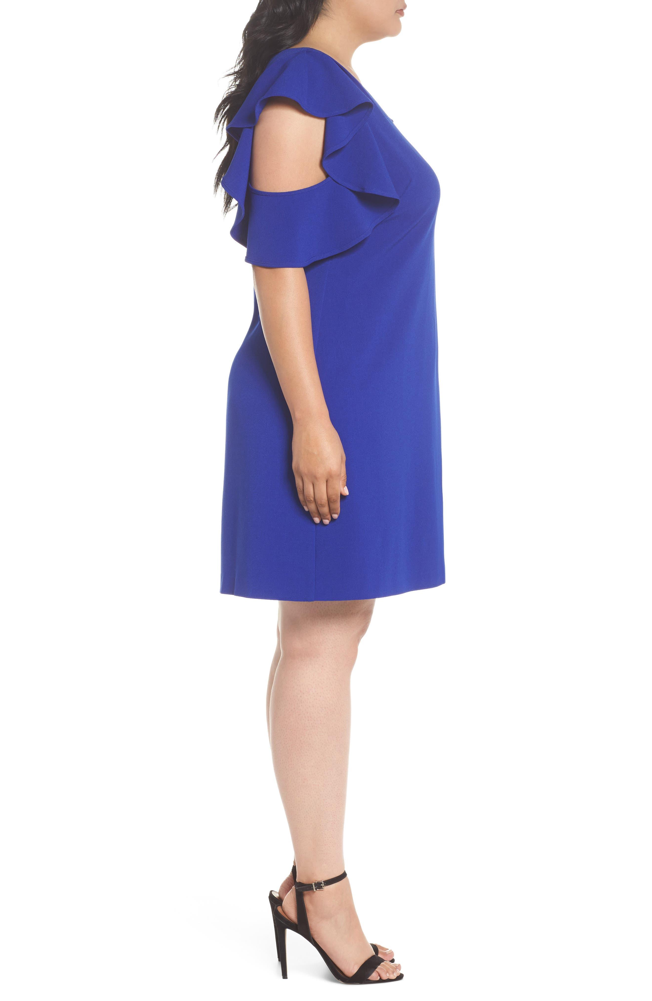 Ruffle Cold Shoulder Shift Dress,                             Alternate thumbnail 3, color,                             Blue Surf