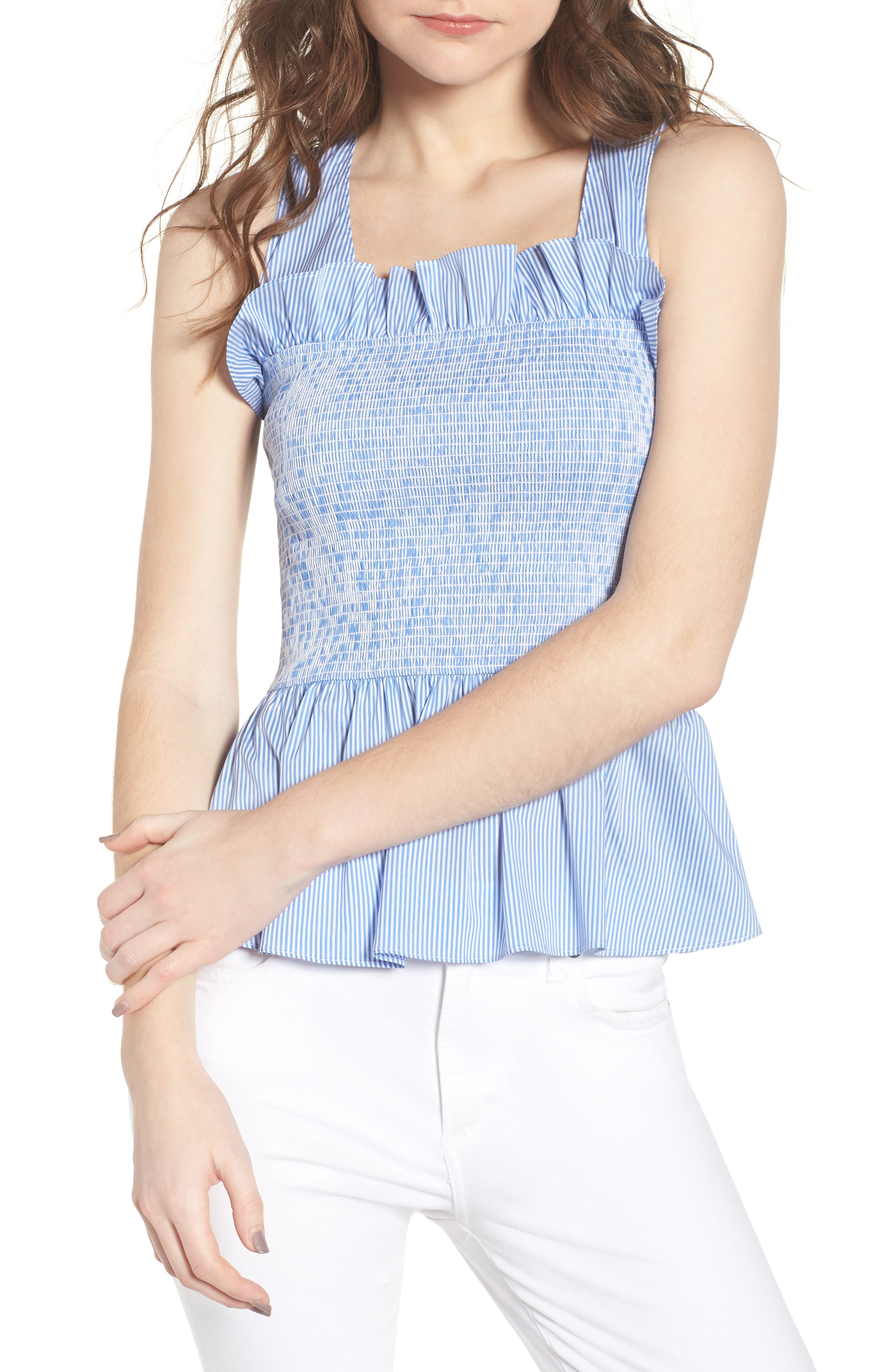 Smocked Bustier Top,                             Main thumbnail 1, color,                             Blue Stream Stripe