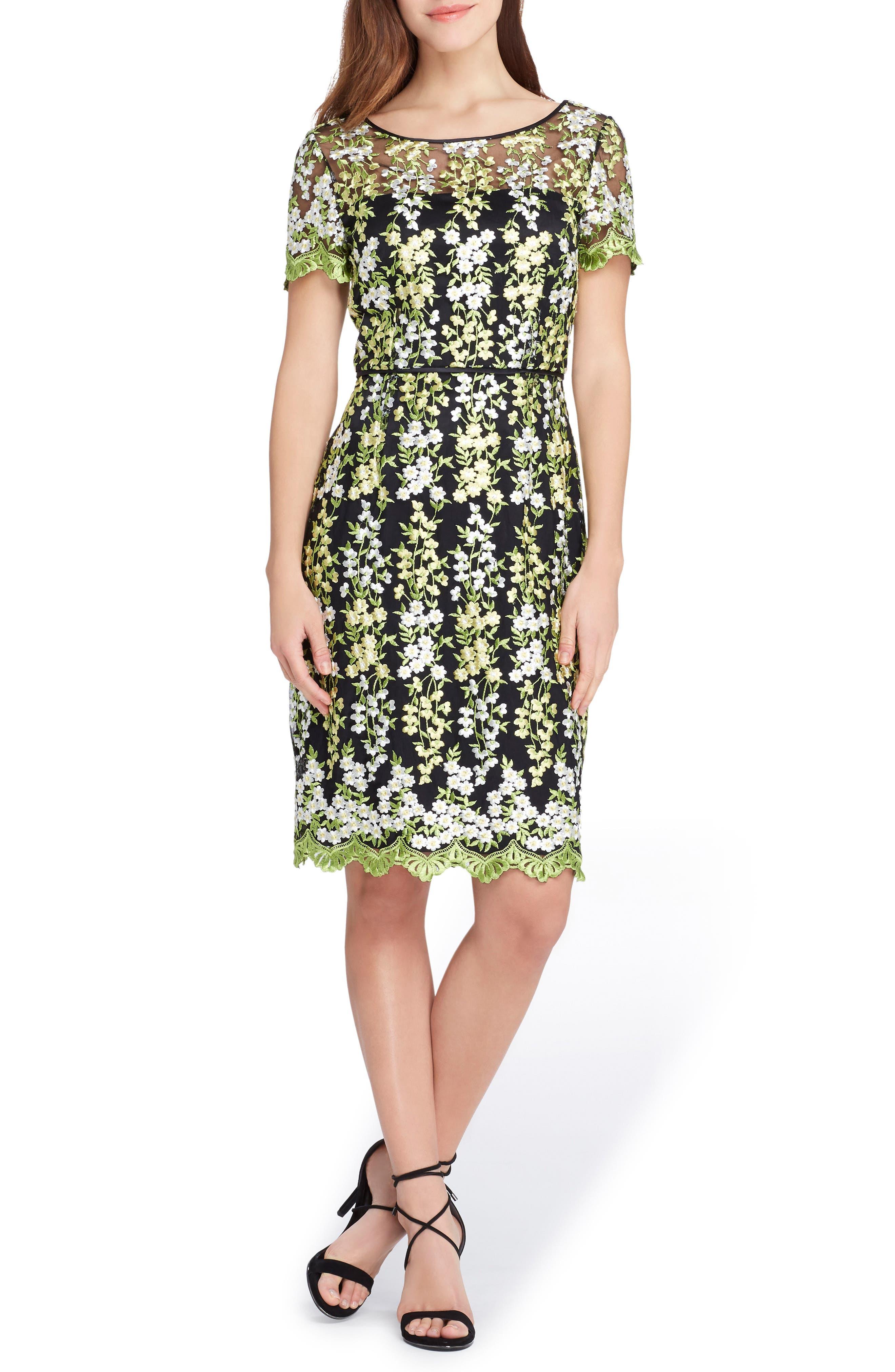 Floral Embroidery Sheath Dress,                             Main thumbnail 1, color,                             Black/ Lemon/ Green