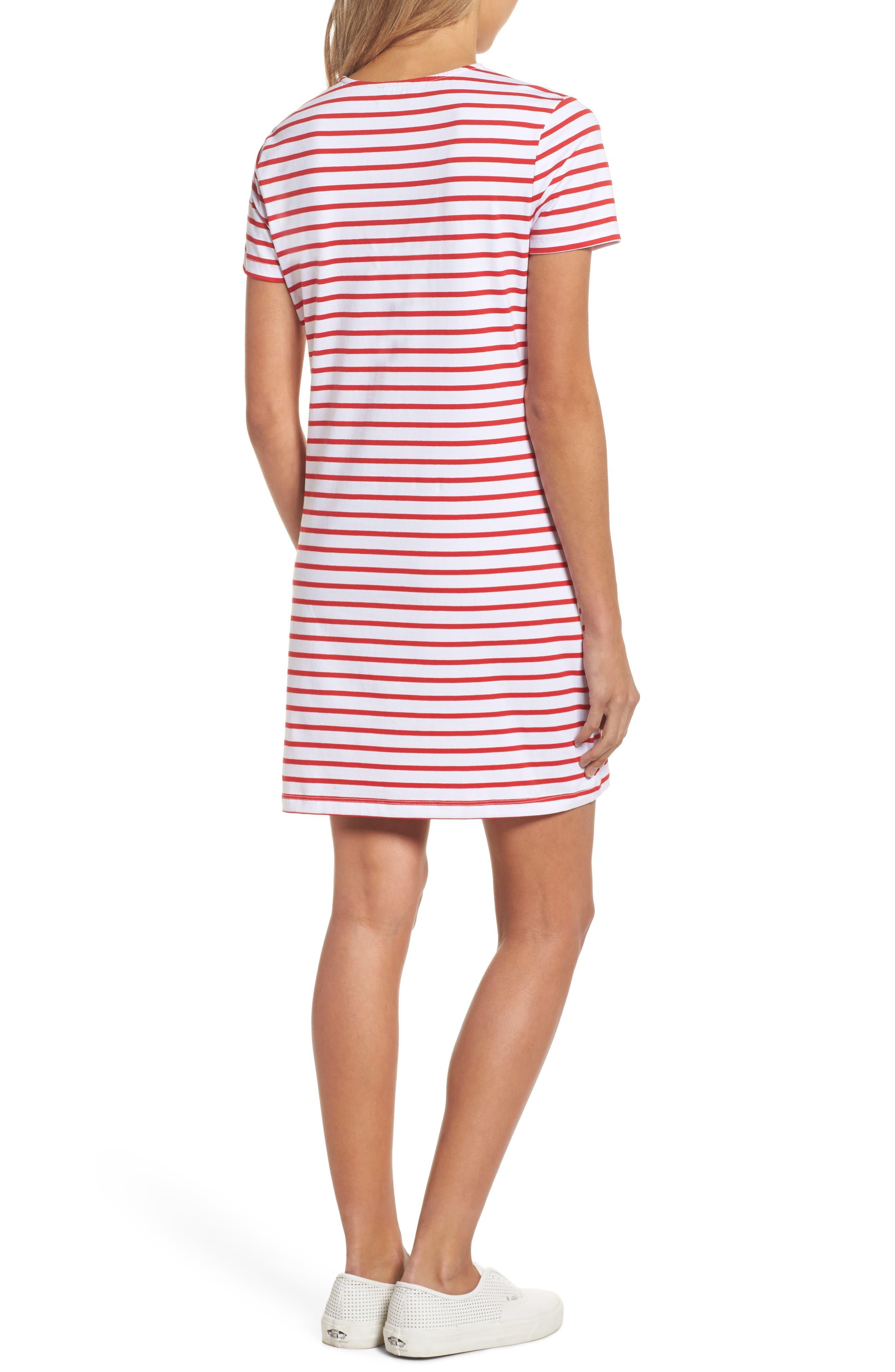Stripe Shift Dress,                             Alternate thumbnail 4, color,                             Red Stripe