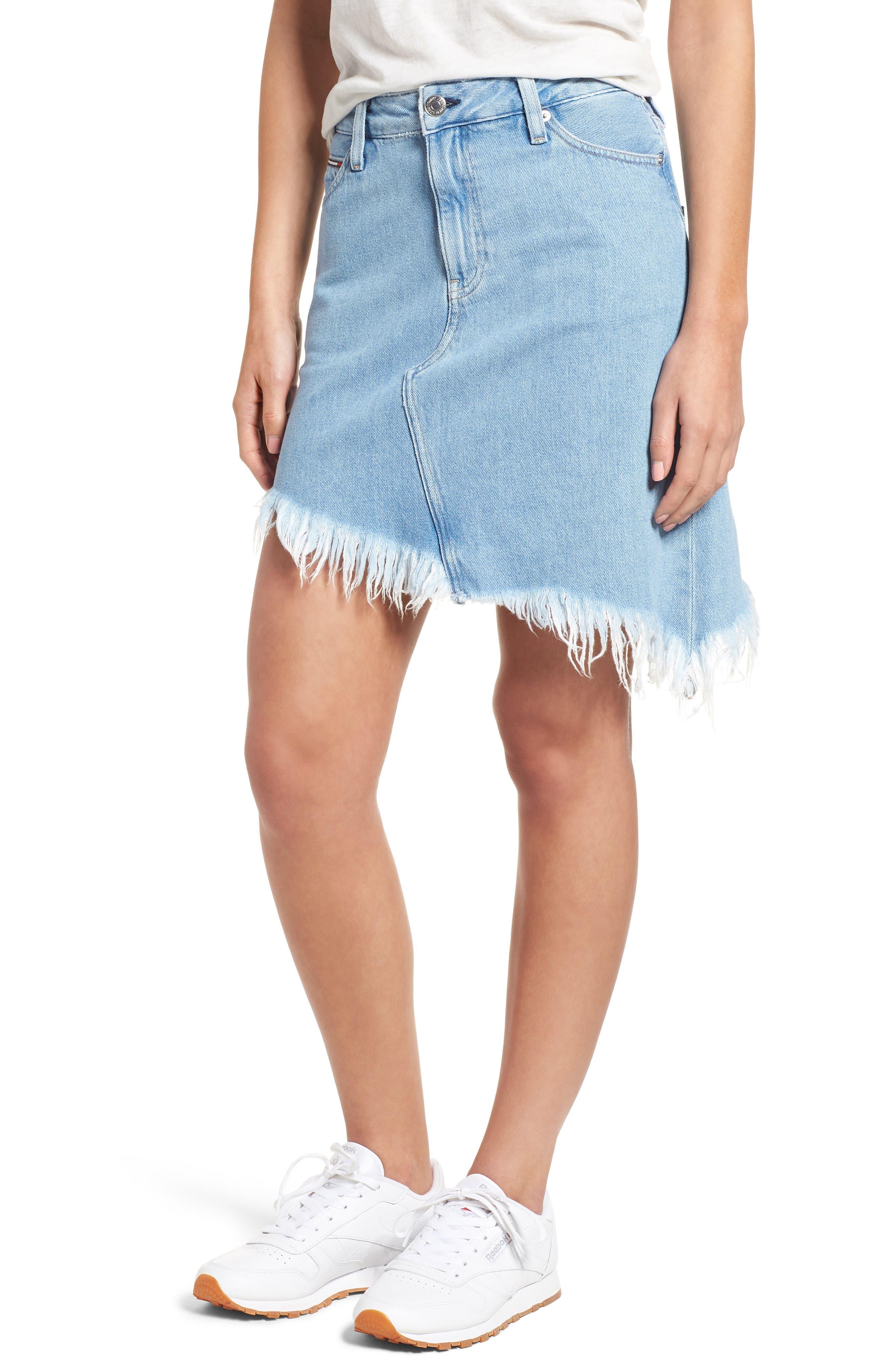 Asymmetrical Denim Skirt,                             Main thumbnail 1, color,                             Raw Destructed Blue Rigid