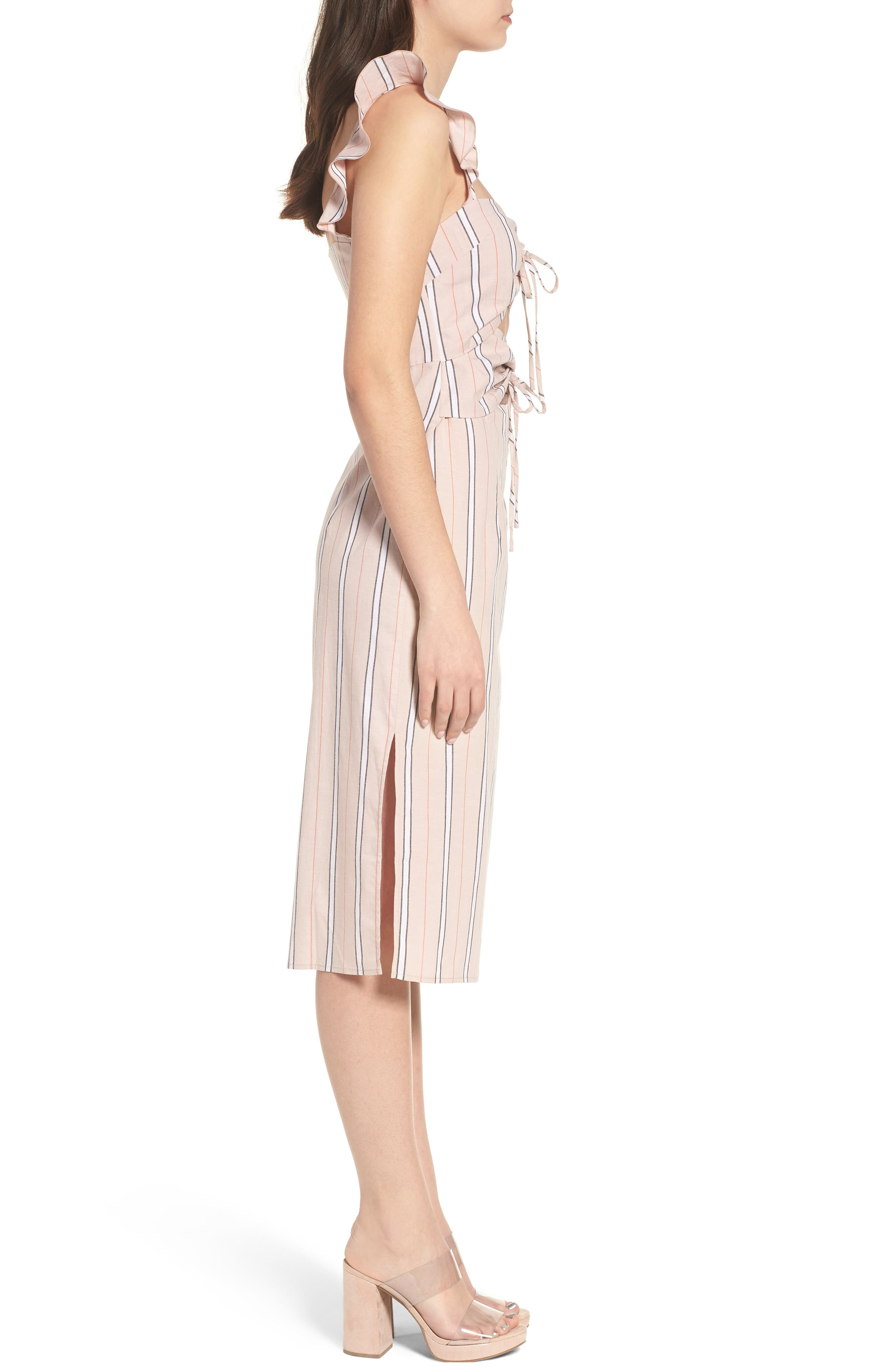 Verona Cutout Midi Dress,                             Alternate thumbnail 3, color,                             Coral Stripe