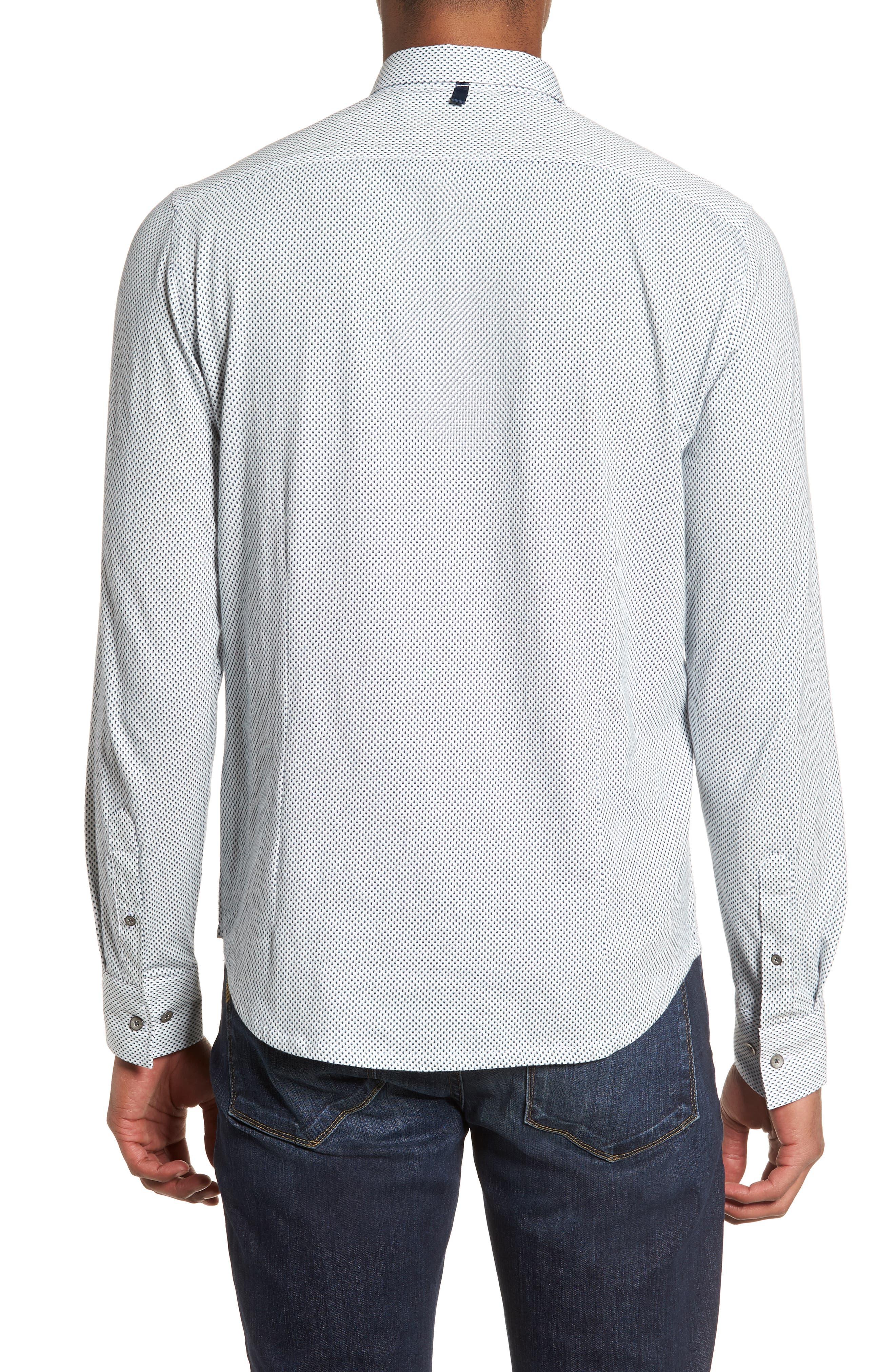 Reworked Slim Fit Diamond Print Sport Shirt,                             Alternate thumbnail 3, color,                             White/ Navy