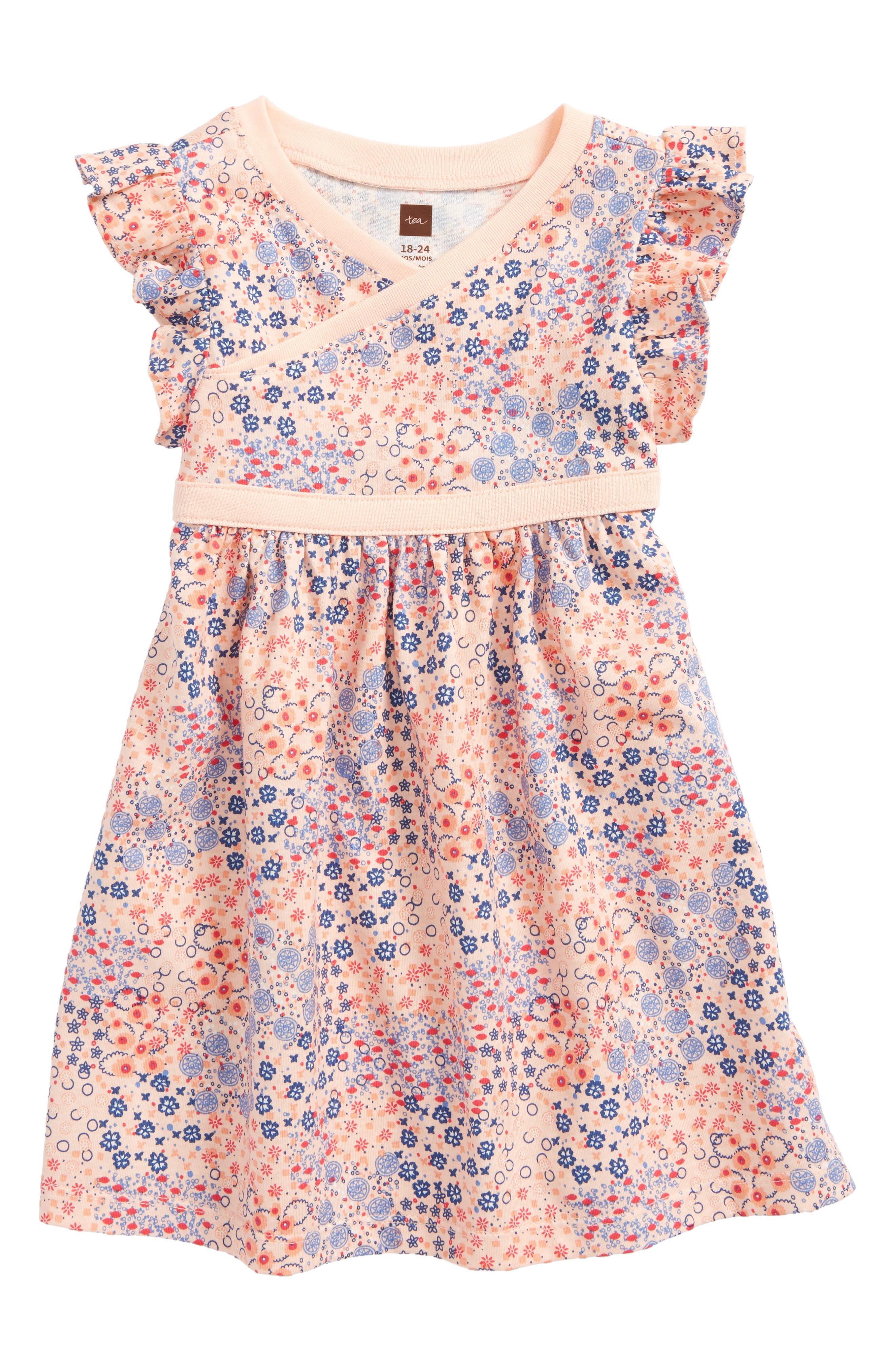 Tea Collection Flower Print Wrap Neck Knit Dress (Baby Girls)