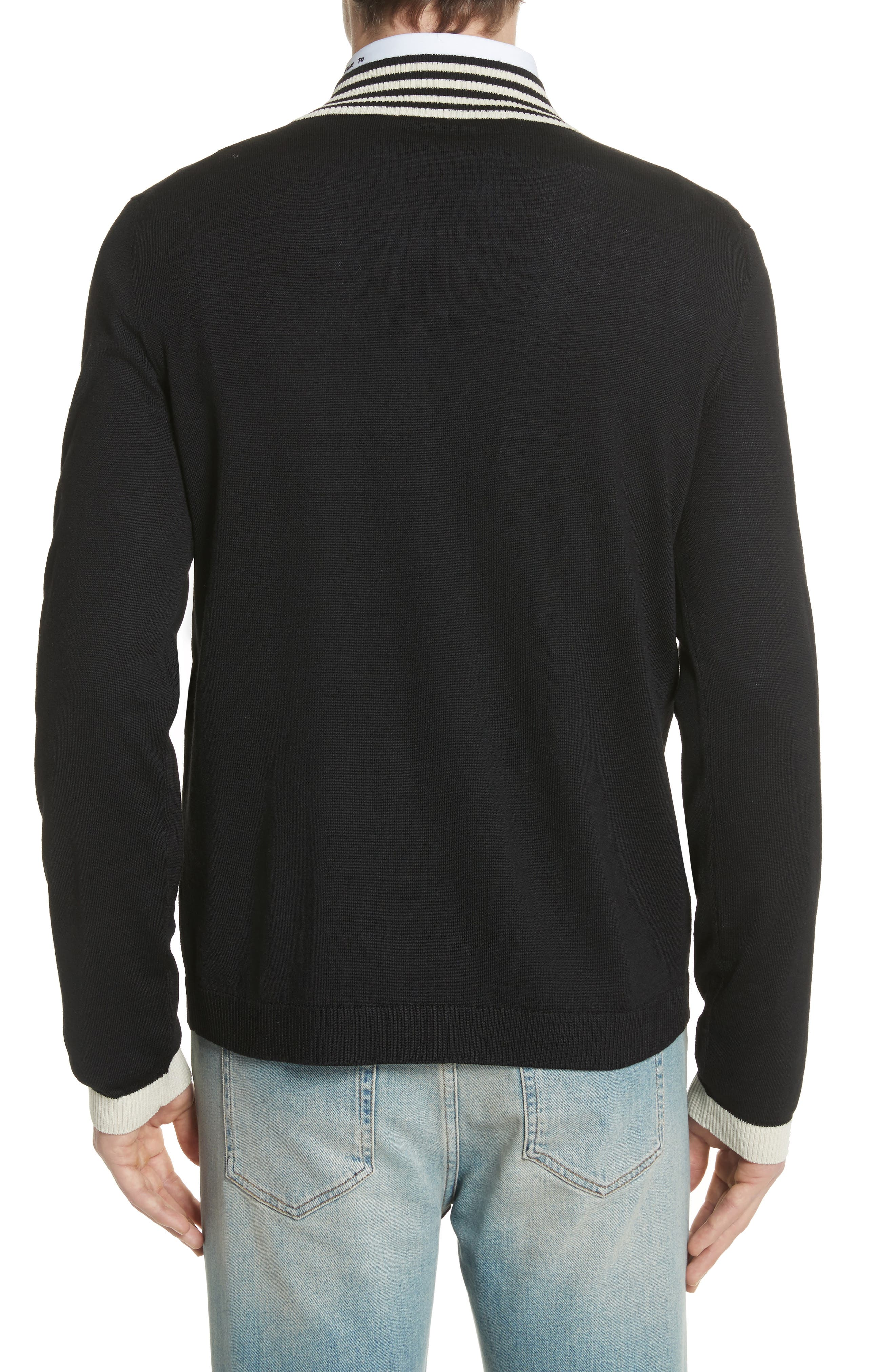 Bee Appliqué Wool Pullover Sweater,                             Alternate thumbnail 2, color,                             1831 Black