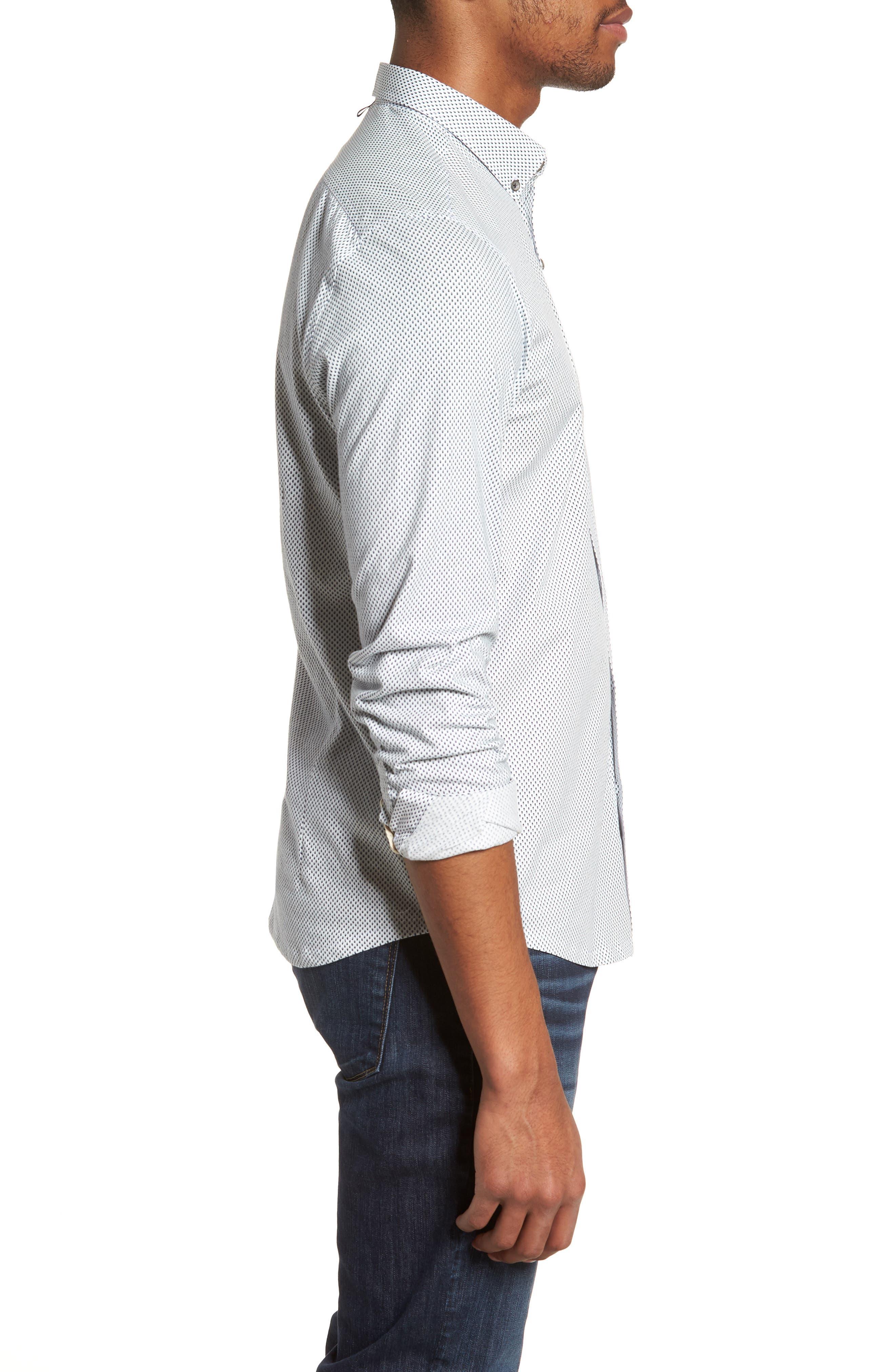 Reworked Slim Fit Diamond Print Sport Shirt,                             Alternate thumbnail 4, color,                             White/ Navy