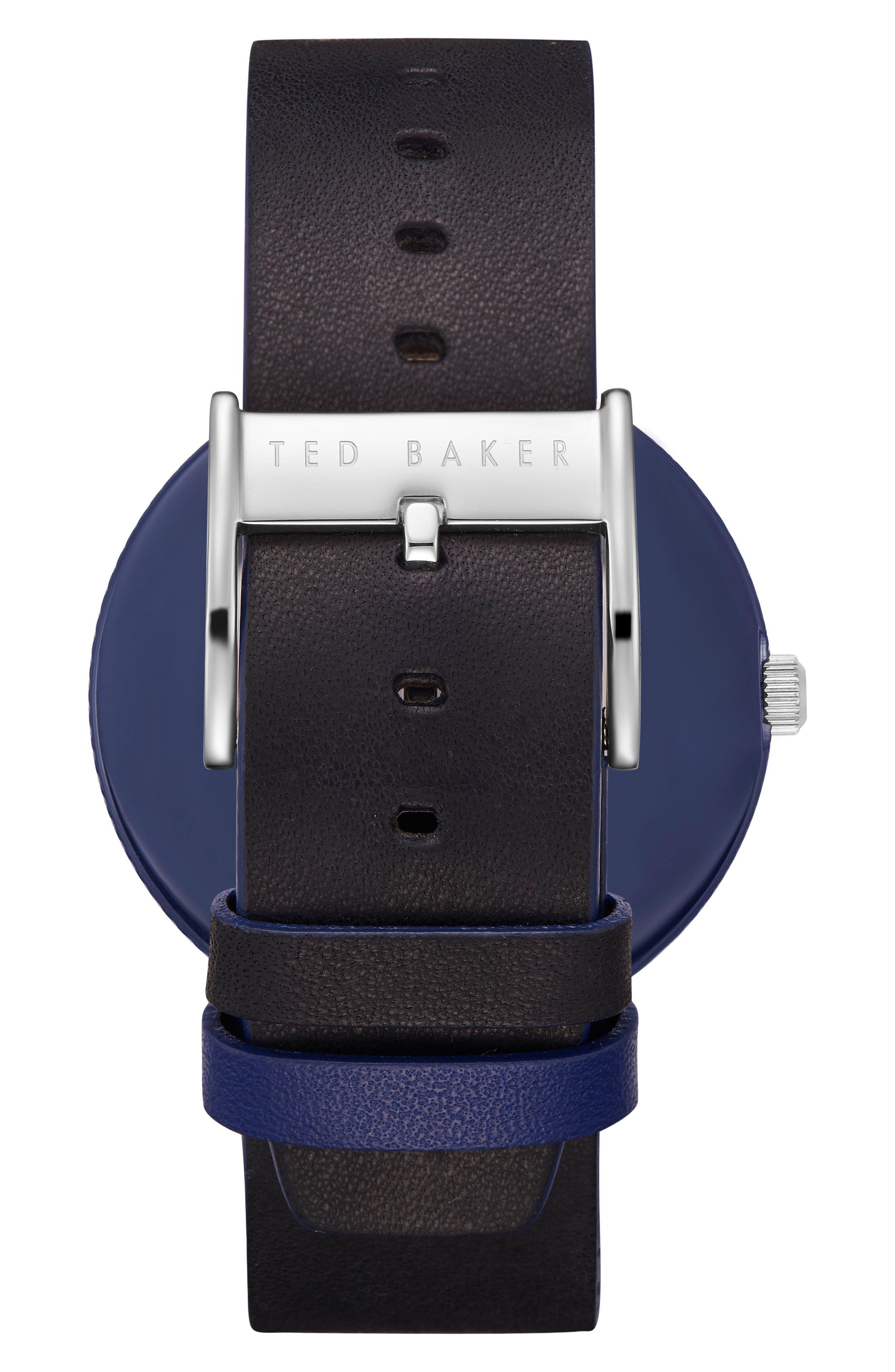 Josh Leather Strap Watch, 42mm,                             Alternate thumbnail 3, color,                             Dark Blue/ Black