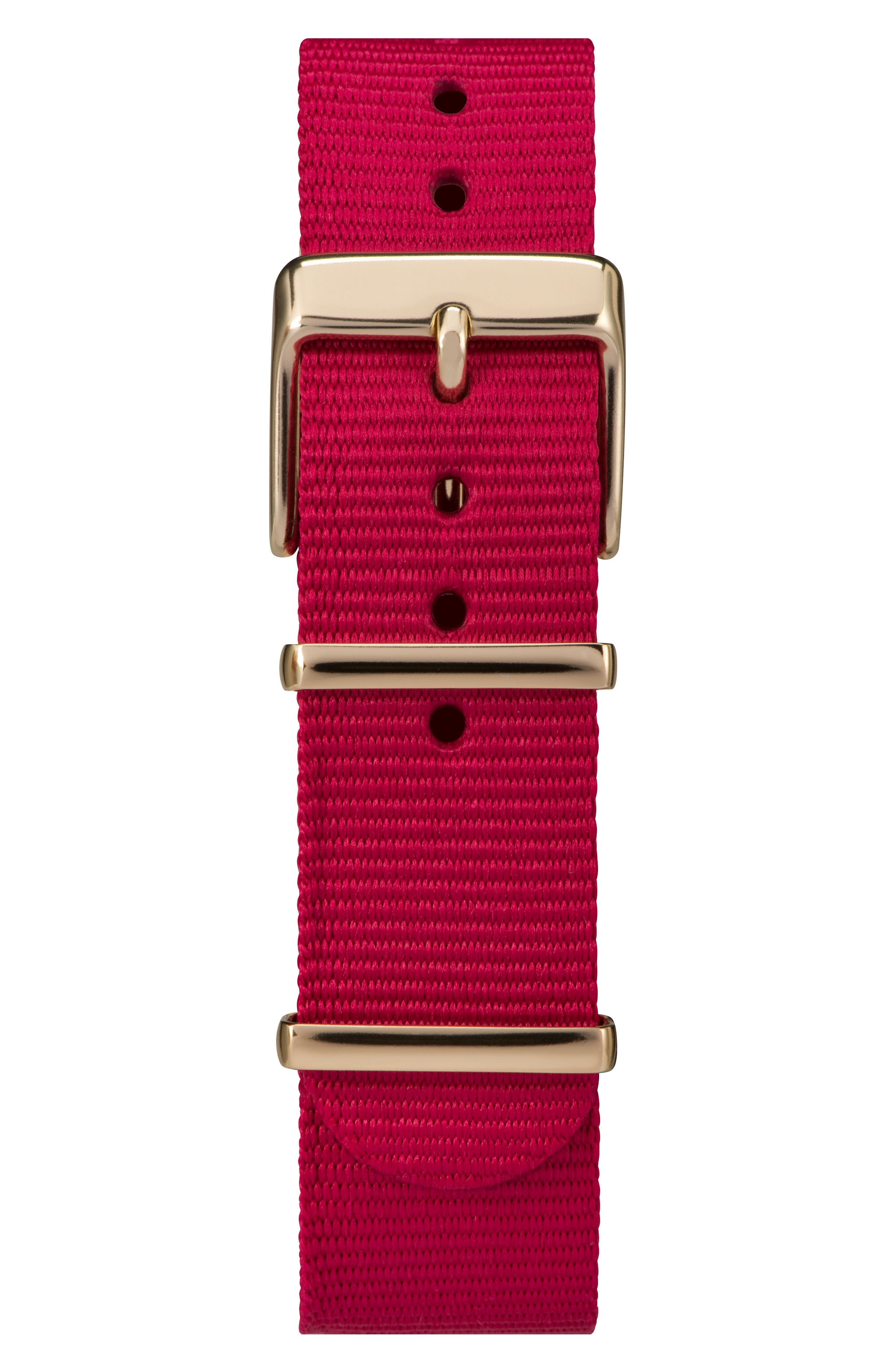 Fairfield Nylon Strap Watch, 37mm,                             Alternate thumbnail 3, color,                             Fuchsia/ White/ Gold
