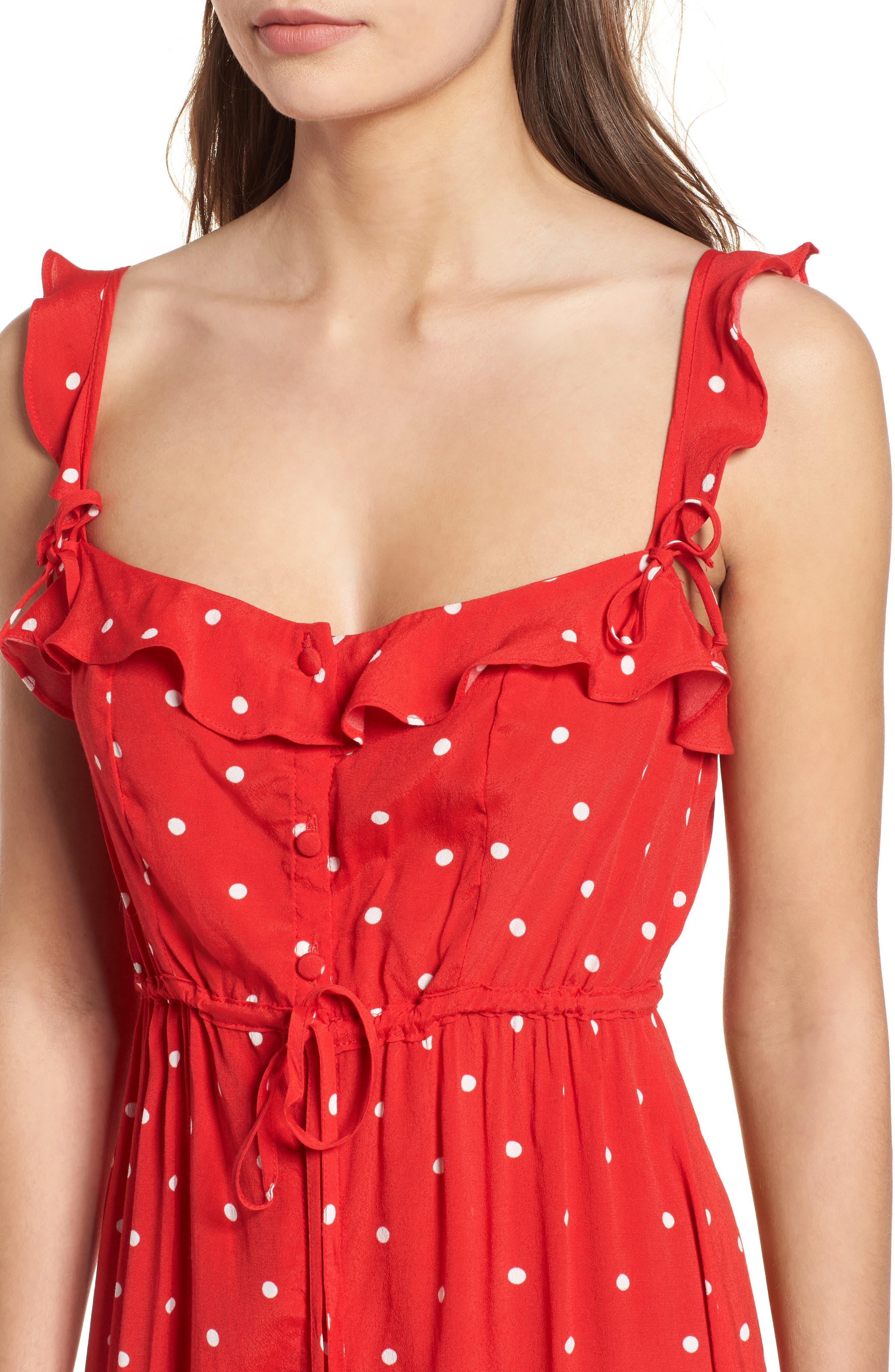 Natalia Midi Dress,                             Alternate thumbnail 4, color,                             Red Dot
