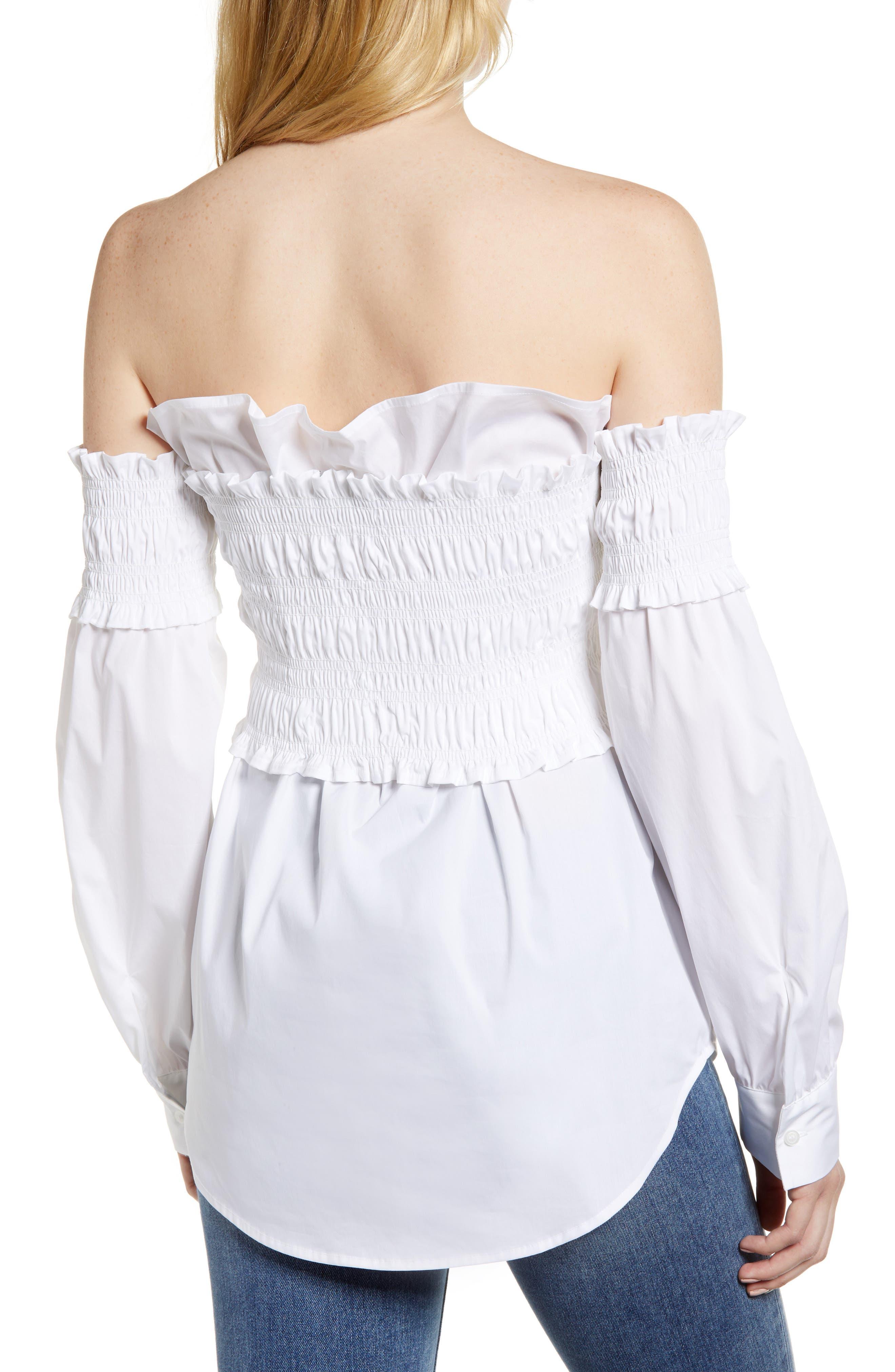 Smocked Corset Shirt,                             Alternate thumbnail 2, color,                             White