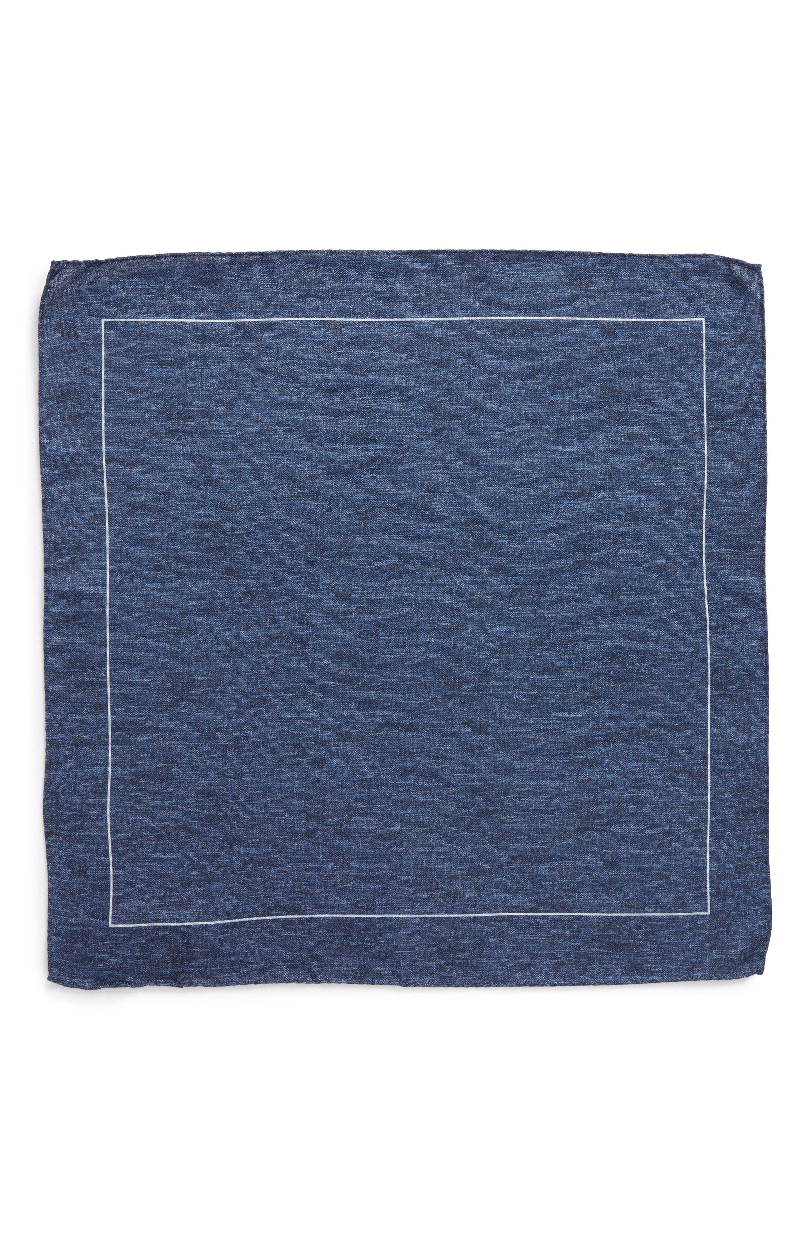 Denim Print Silk Pocket Square,                             Alternate thumbnail 2, color,                             Denim
