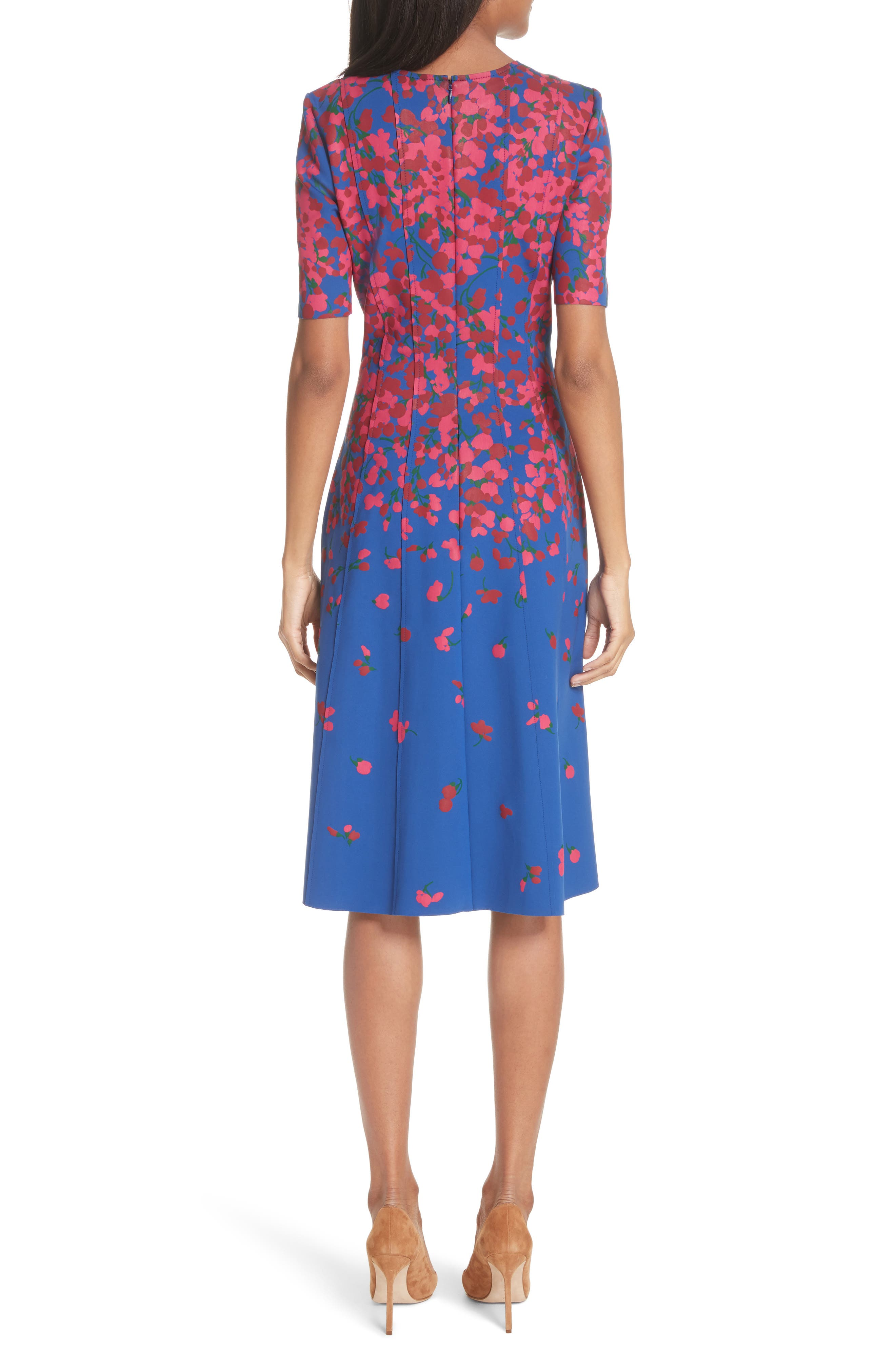 Knit Floral Print Dress,                             Alternate thumbnail 2, color,                             Persian Blue Multi