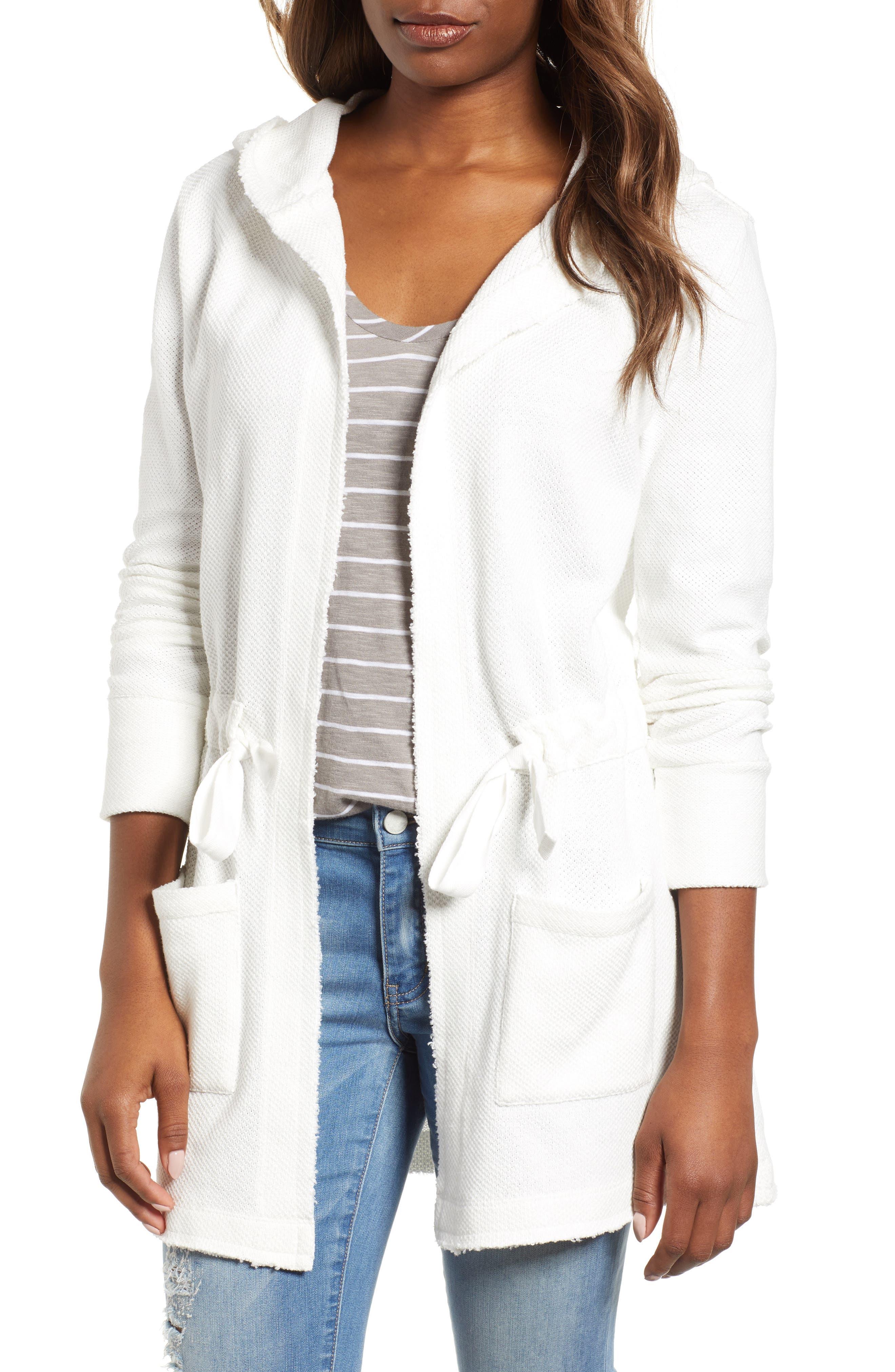 Caslon® Drawstring Hooded Jacket (Regular & Petite)