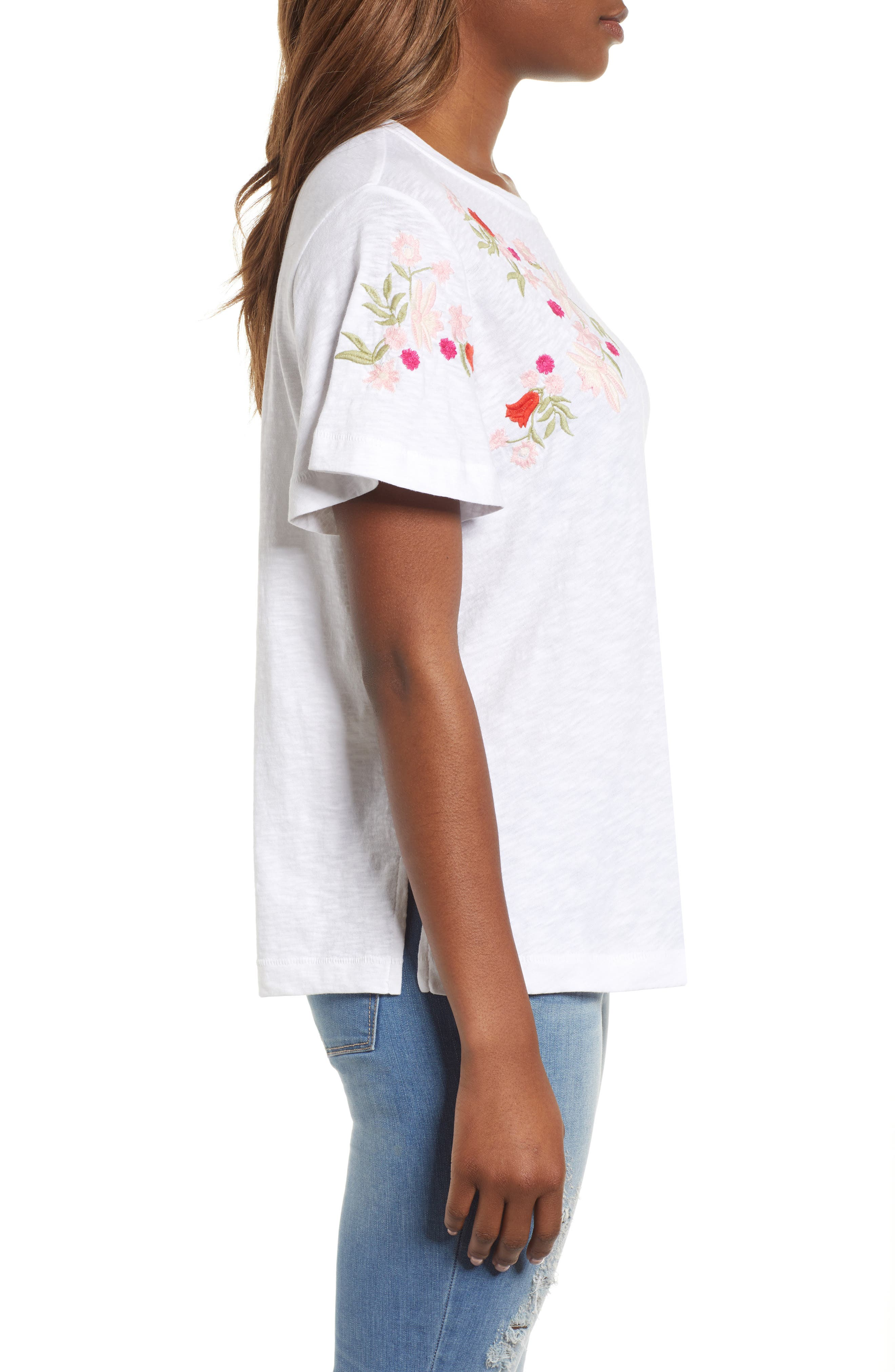 Embroidered Tee,                             Alternate thumbnail 3, color,                             White- Red Lucille