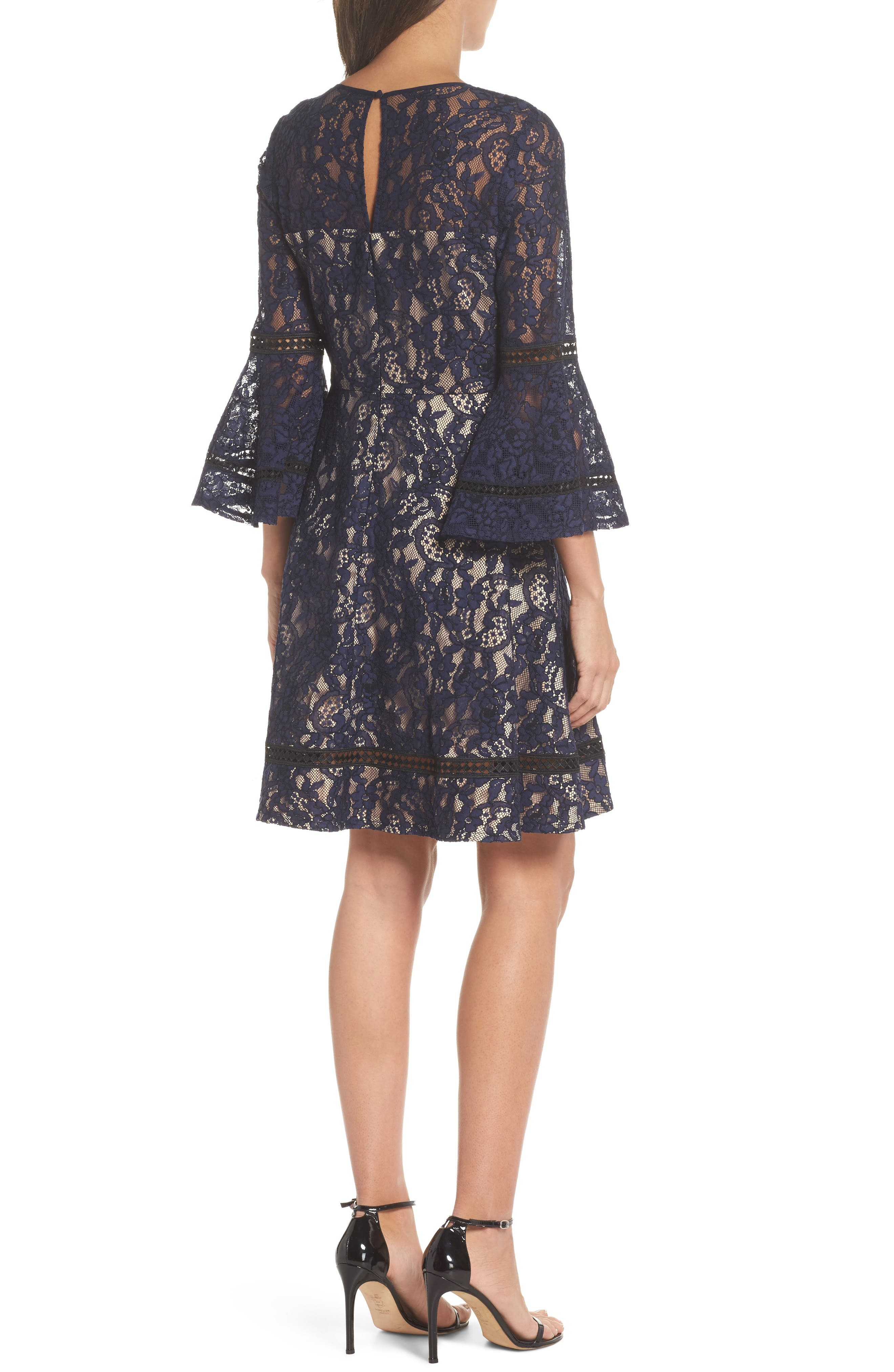 Bell Sleeve Lace Fit & Flare Dress,                             Alternate thumbnail 2, color,                             Navy