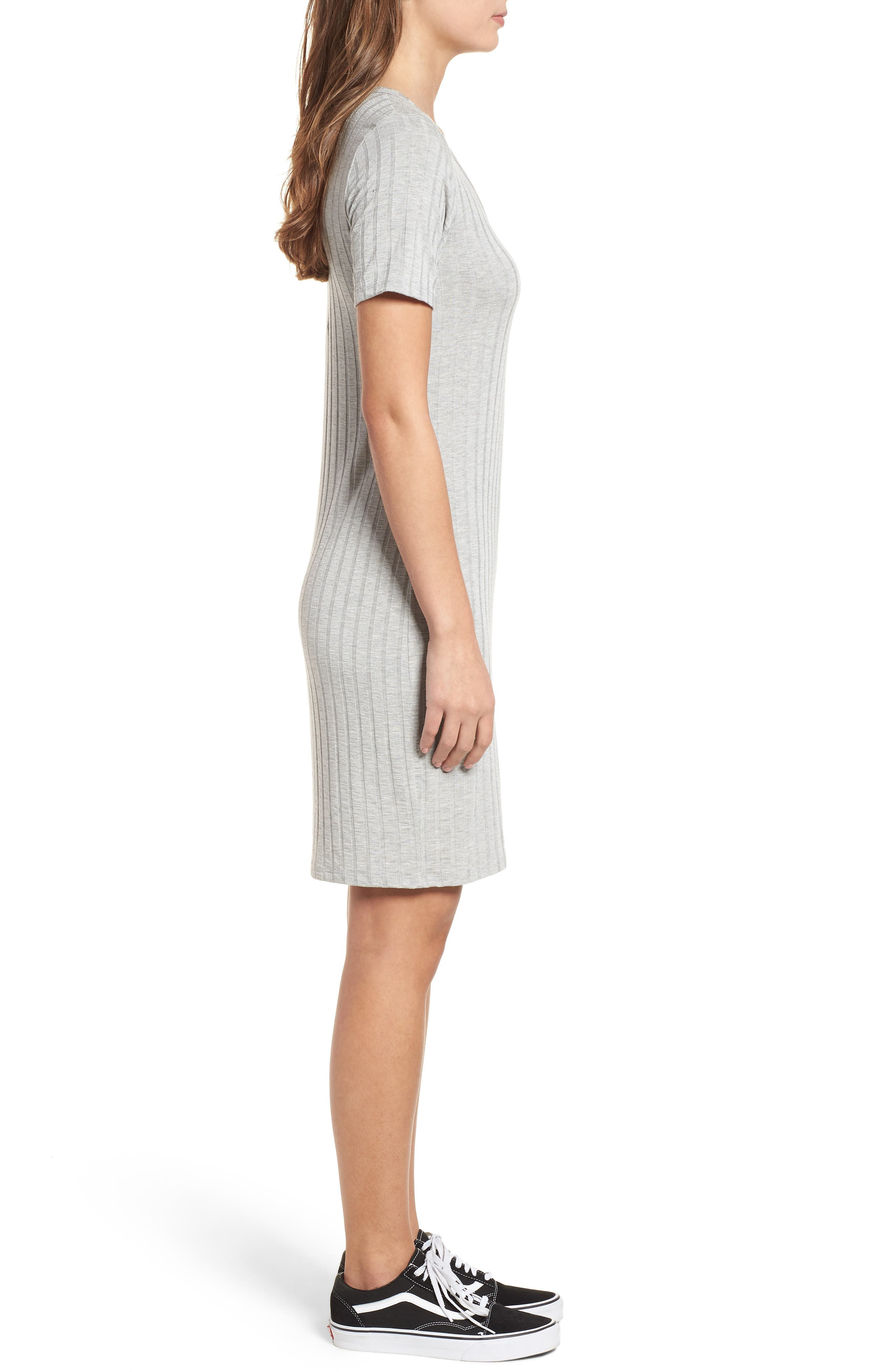 Project Social T Ribbed Body-Con Dress,                             Alternate thumbnail 3, color,                             Heather Grey