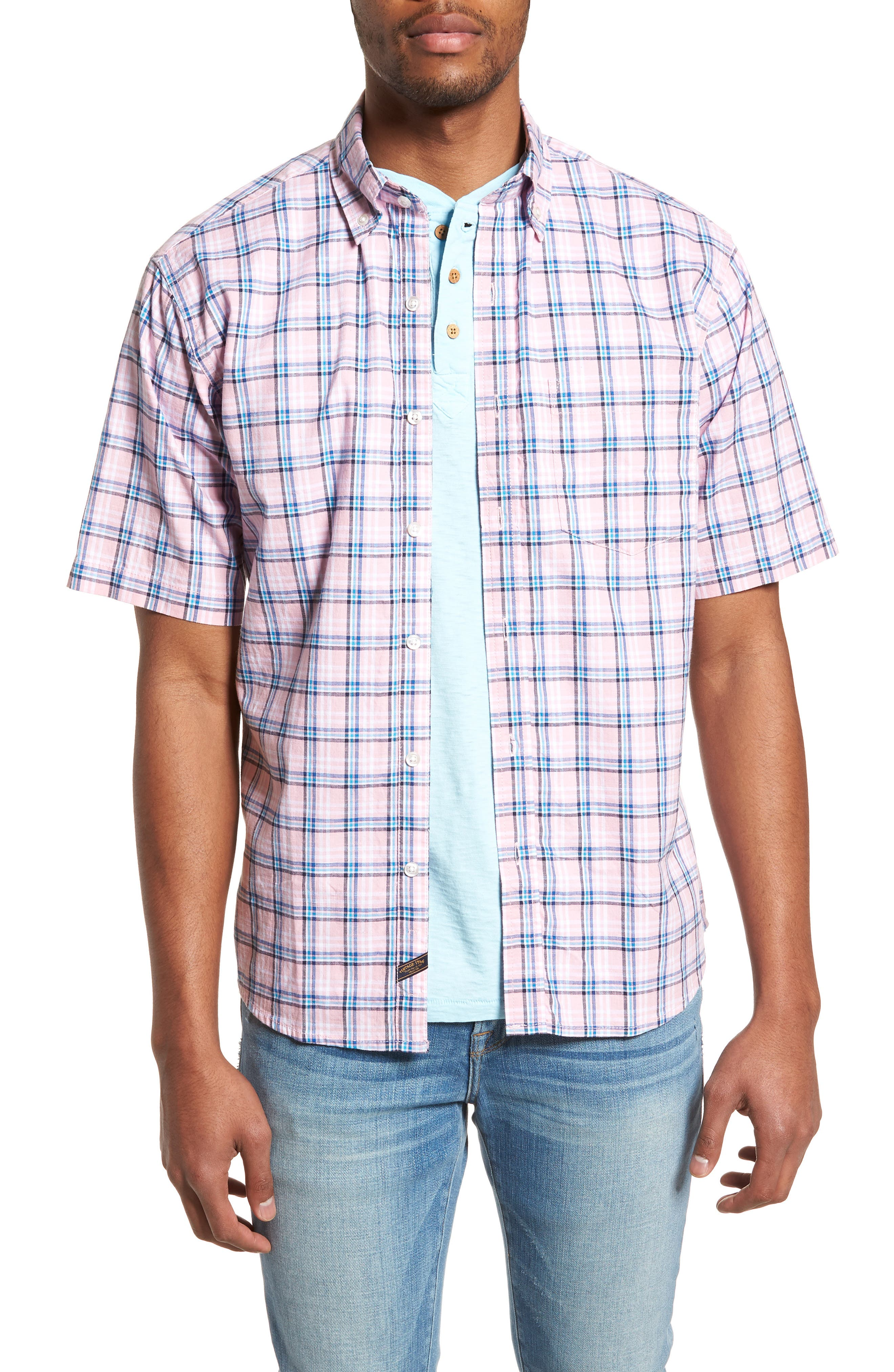 Plaid Oxford Sport Shirt,                         Main,                         color, Pink