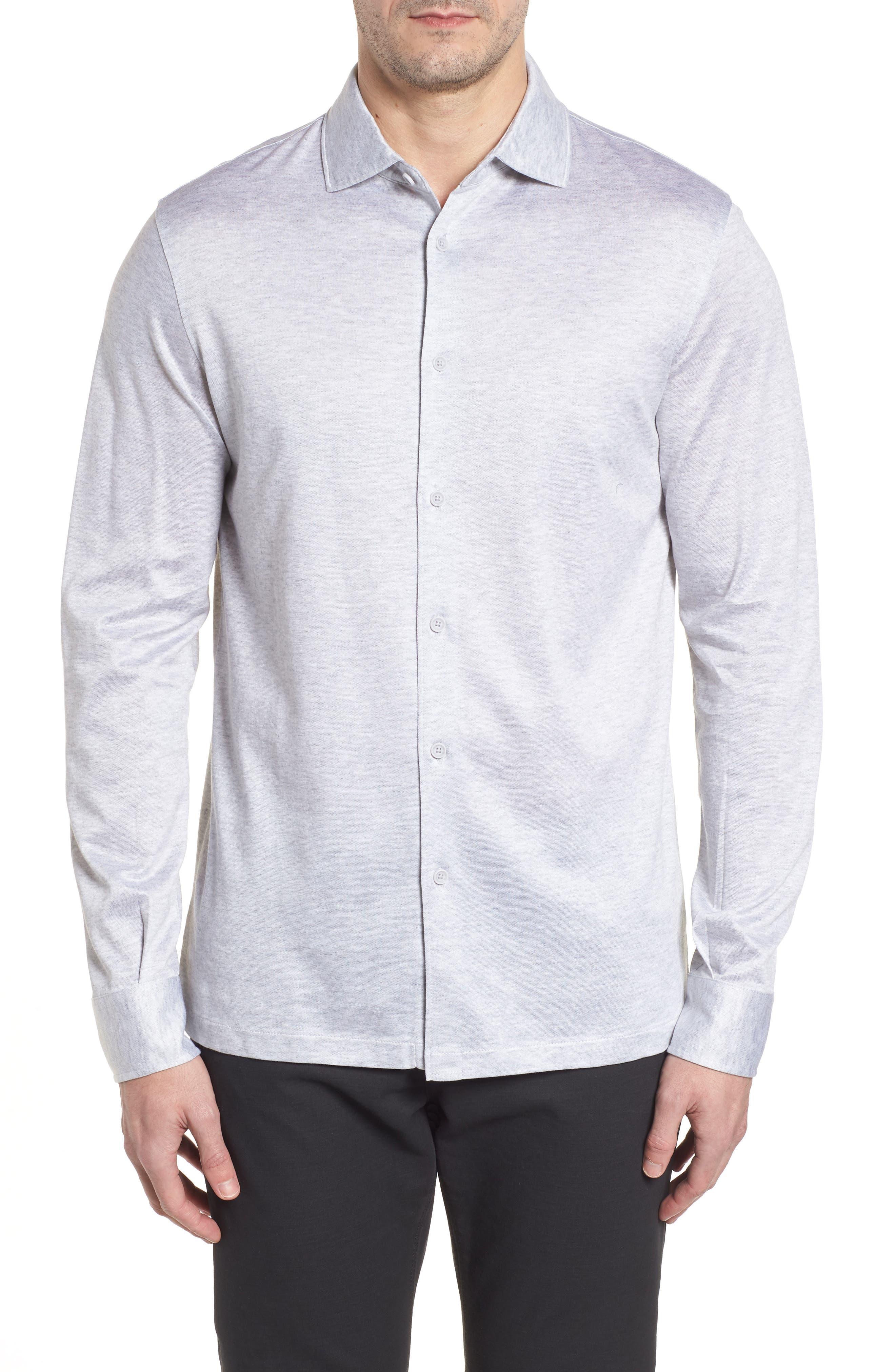 Regular Fit Silk Blend Sport Shirt,                             Main thumbnail 1, color,                             Platinum