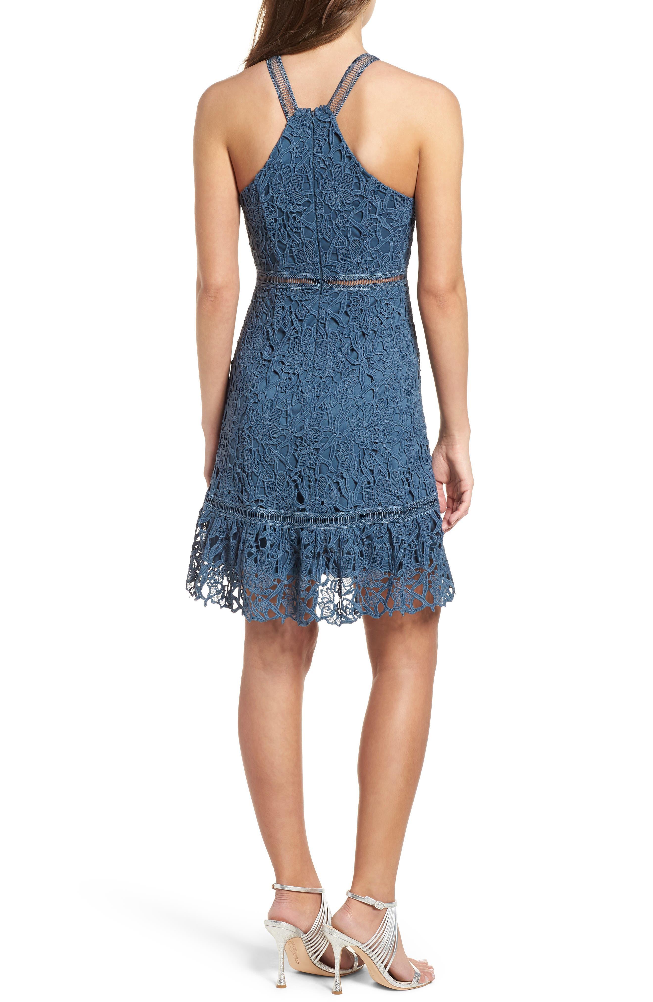 Ruffle Hem Lace Dress,                             Alternate thumbnail 2, color,                             Dusty Teal