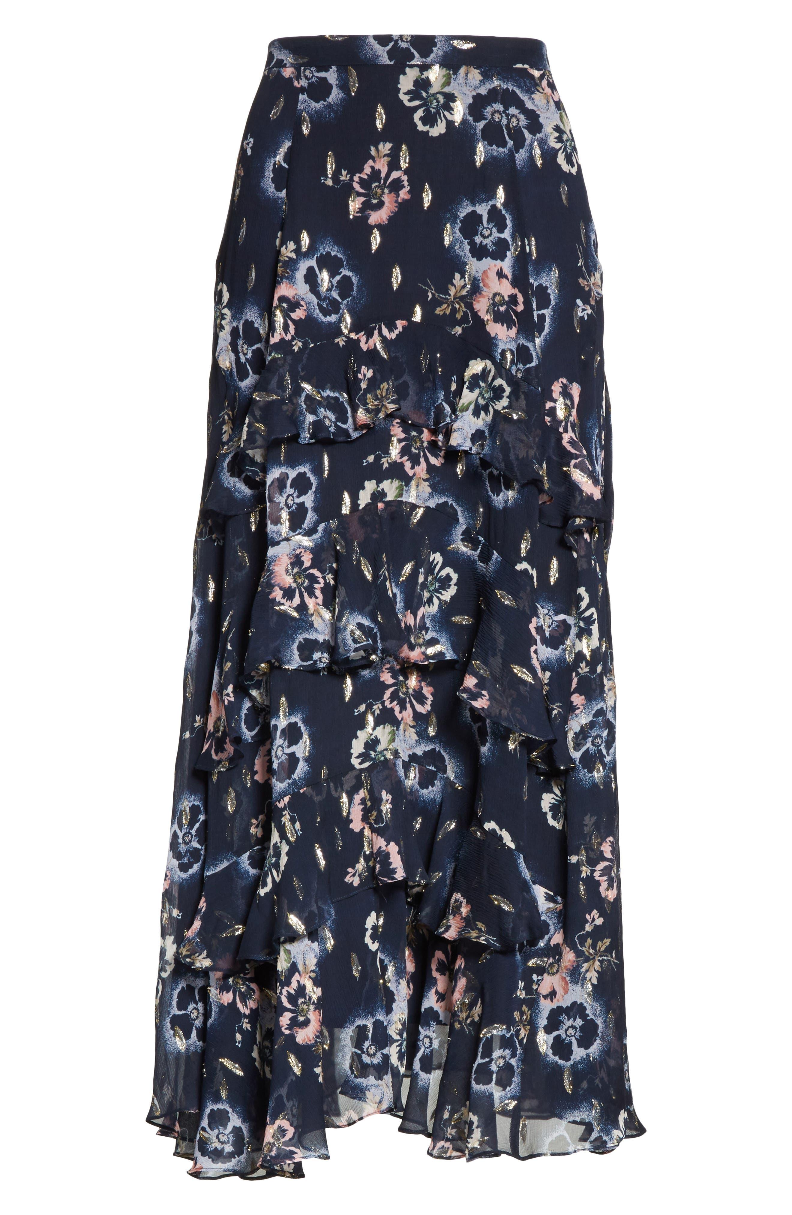 Faded Floral Midi Skirt,                             Alternate thumbnail 6, color,                             Navy