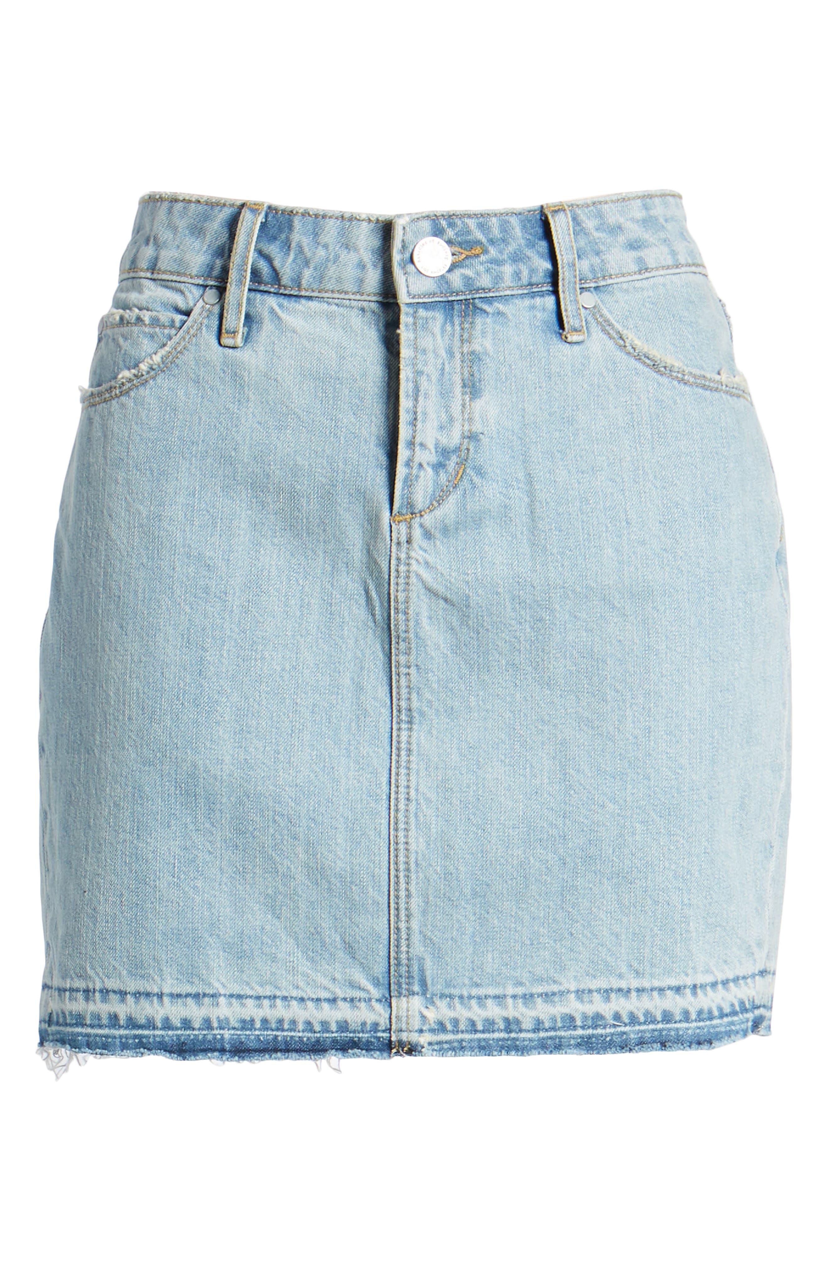 Stacy Release Hem Denim Skirt,                             Alternate thumbnail 7, color,                             Reims