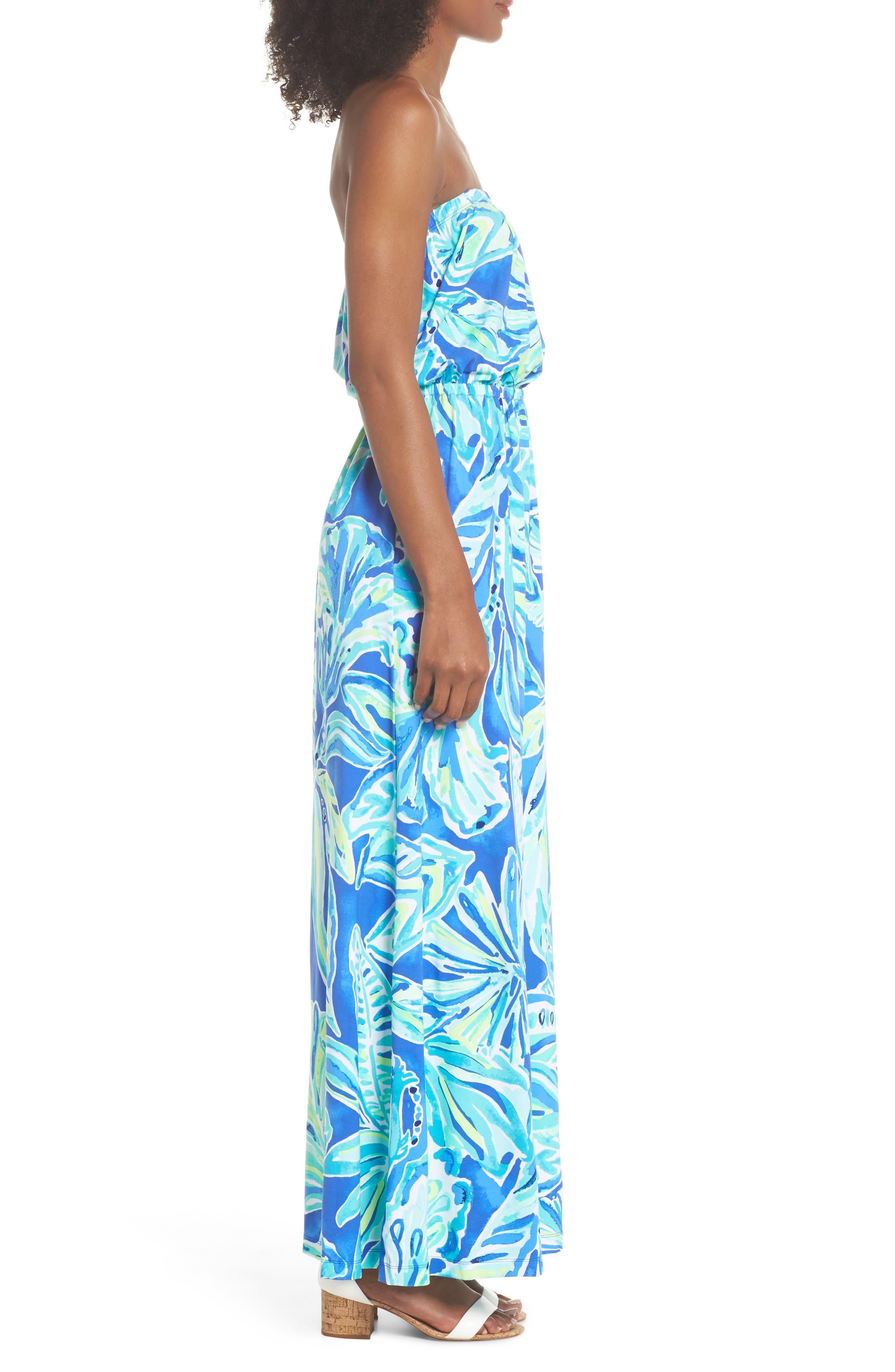 Marlisa Strapless Maxi Dress,                             Alternate thumbnail 3, color,                             Beckon Blue Palm Passage