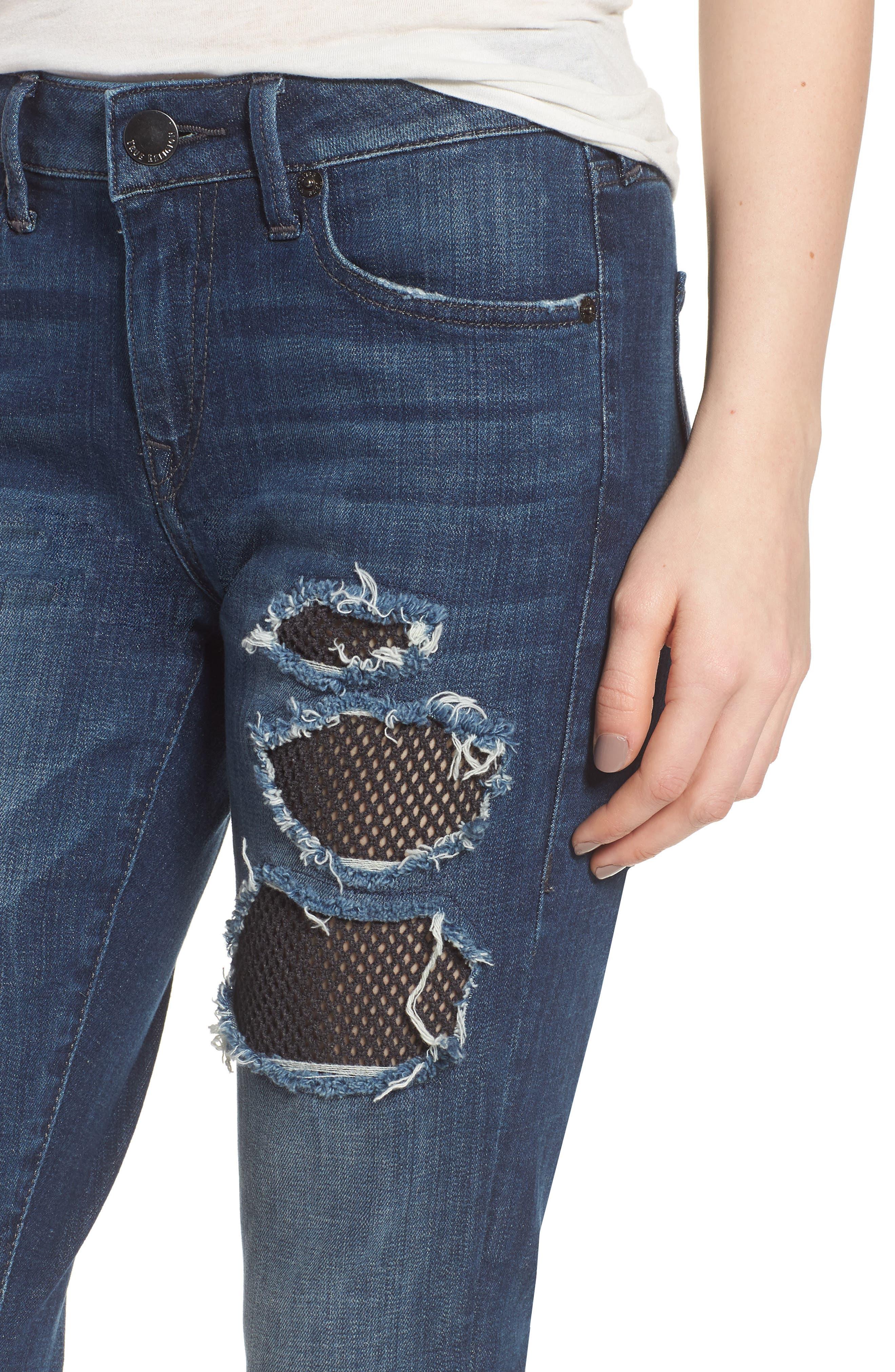 Alternate Image 4  - True Religion Brand Jeans Halle Fishnet Skinny Jeans (Cobalt Crush)