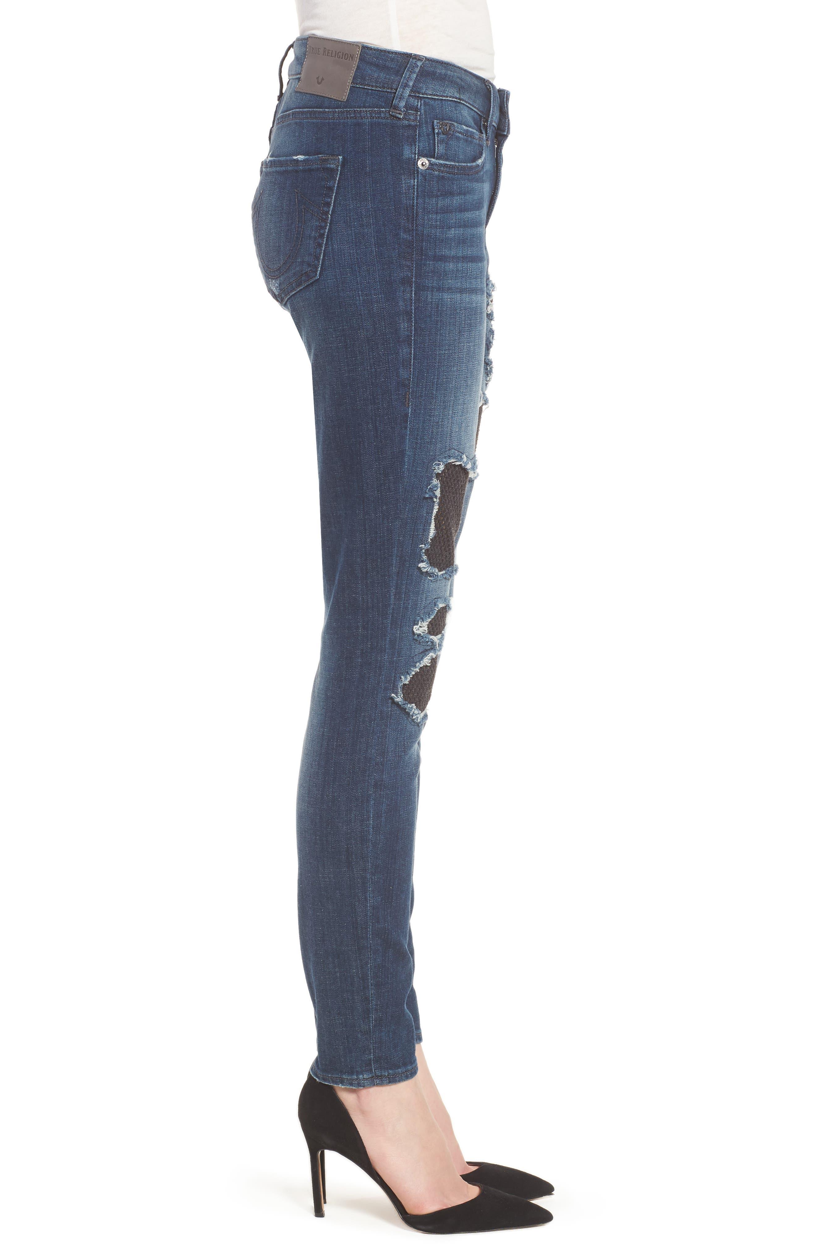 Halle Fishnet Skinny Jeans,                             Alternate thumbnail 3, color,                             Ebrd Cobalt Crush