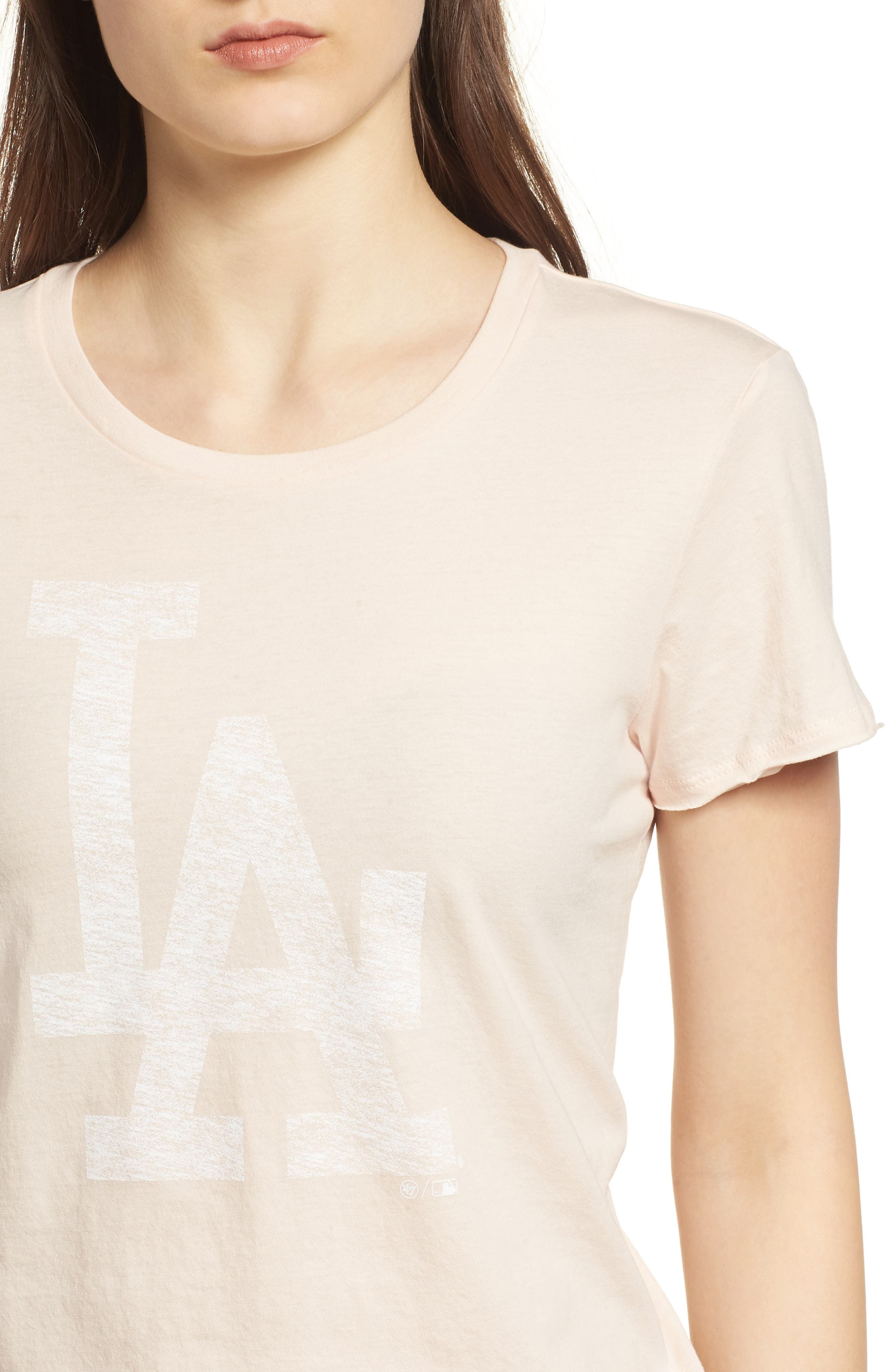 Los Angeles Dodgers Fader Letter Tee,                             Alternate thumbnail 4, color,                             Blush