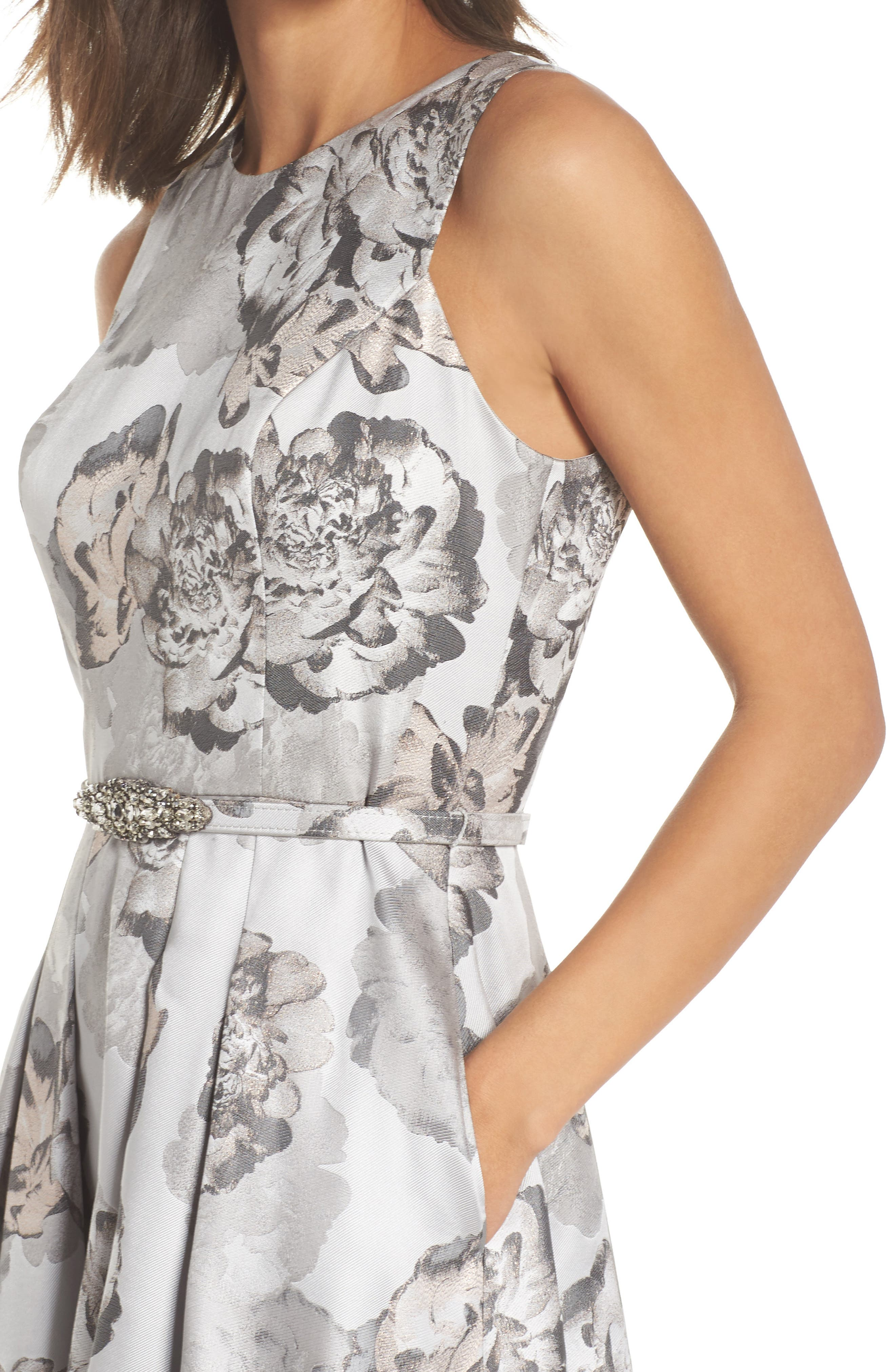 High/Low Gown,                             Alternate thumbnail 4, color,                             Pale Grey