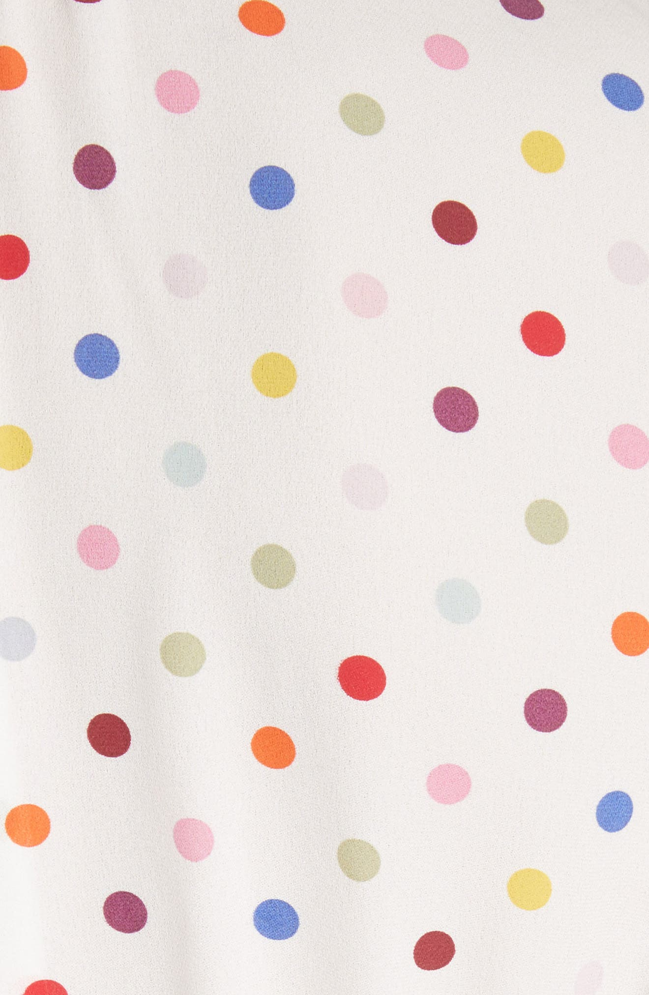 Polka Dot Silk Georgette Dress,                             Alternate thumbnail 6, color,                             Ivory
