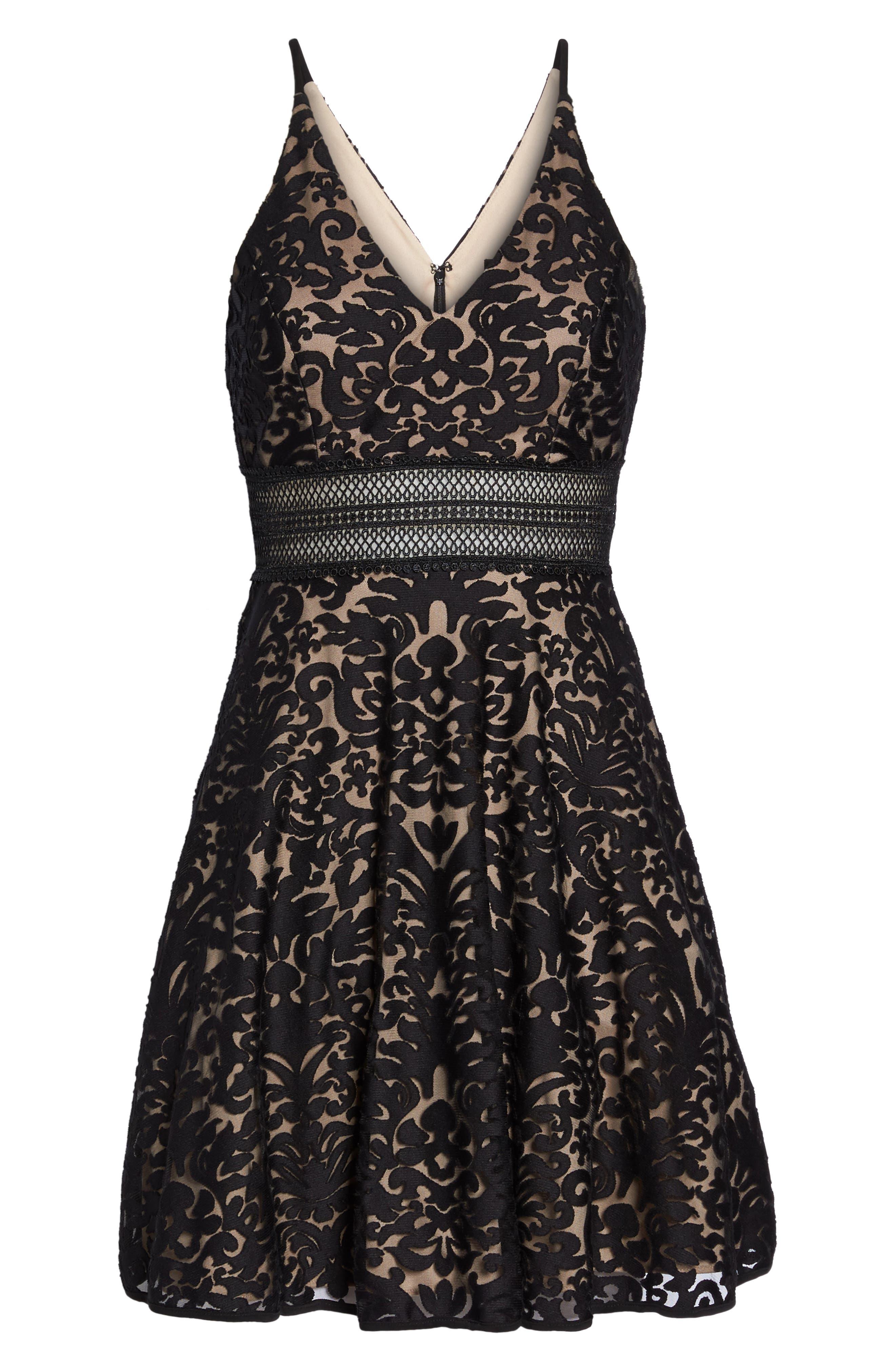 Lace Fit & Flare Dress,                             Alternate thumbnail 6, color,                             Black/ Nude