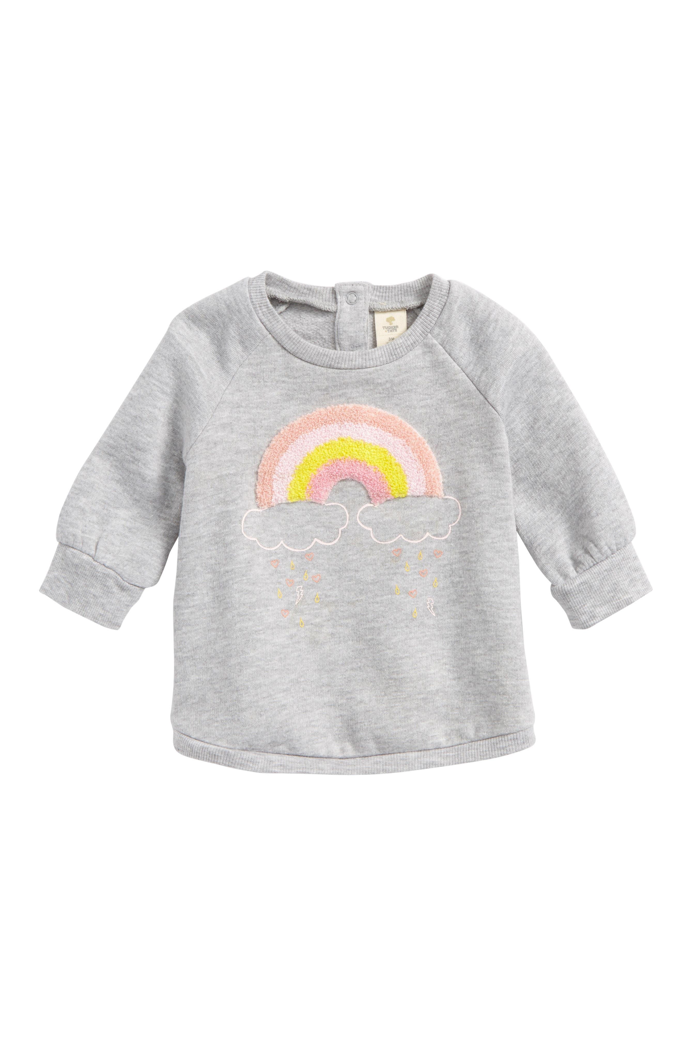 Rainbow Appliqué Tunic Top,                             Main thumbnail 1, color,                             Grey Ash Heather Rainbow