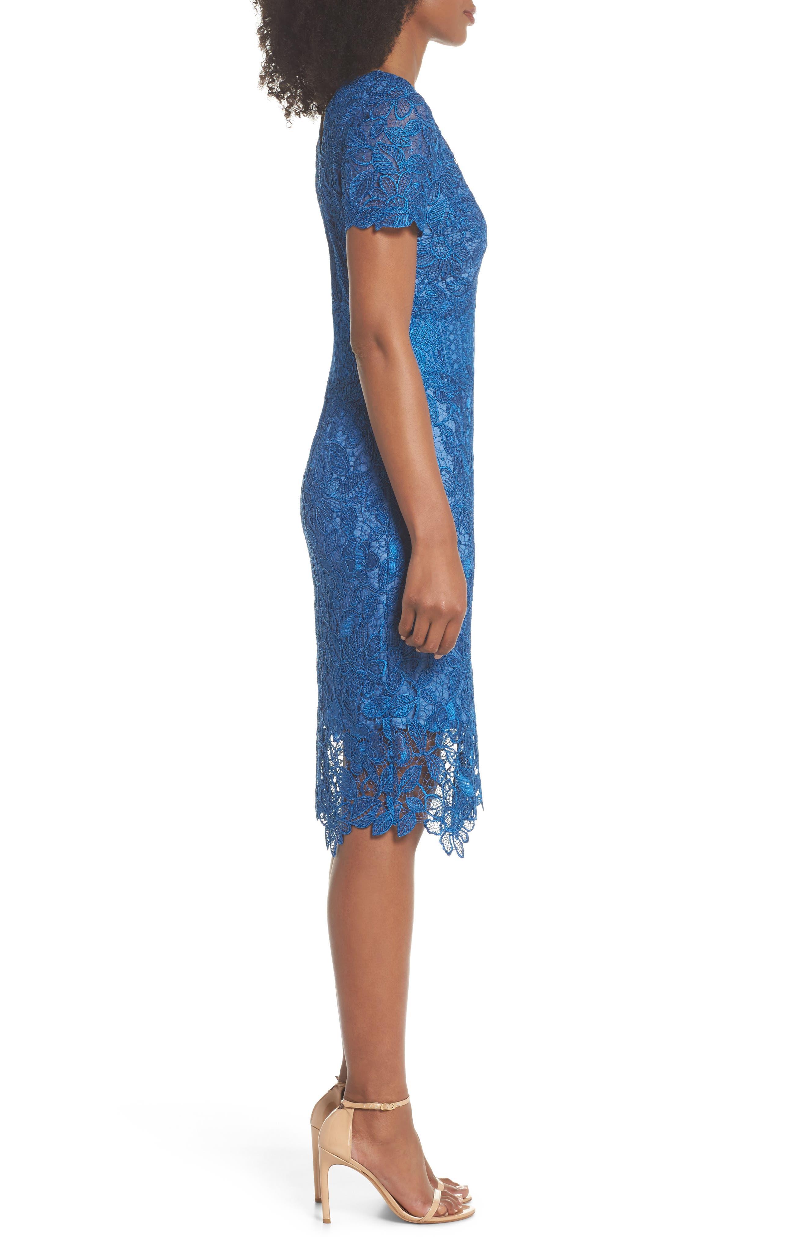 Carter Lace Sheath Dress,                             Alternate thumbnail 3, color,                             Azure
