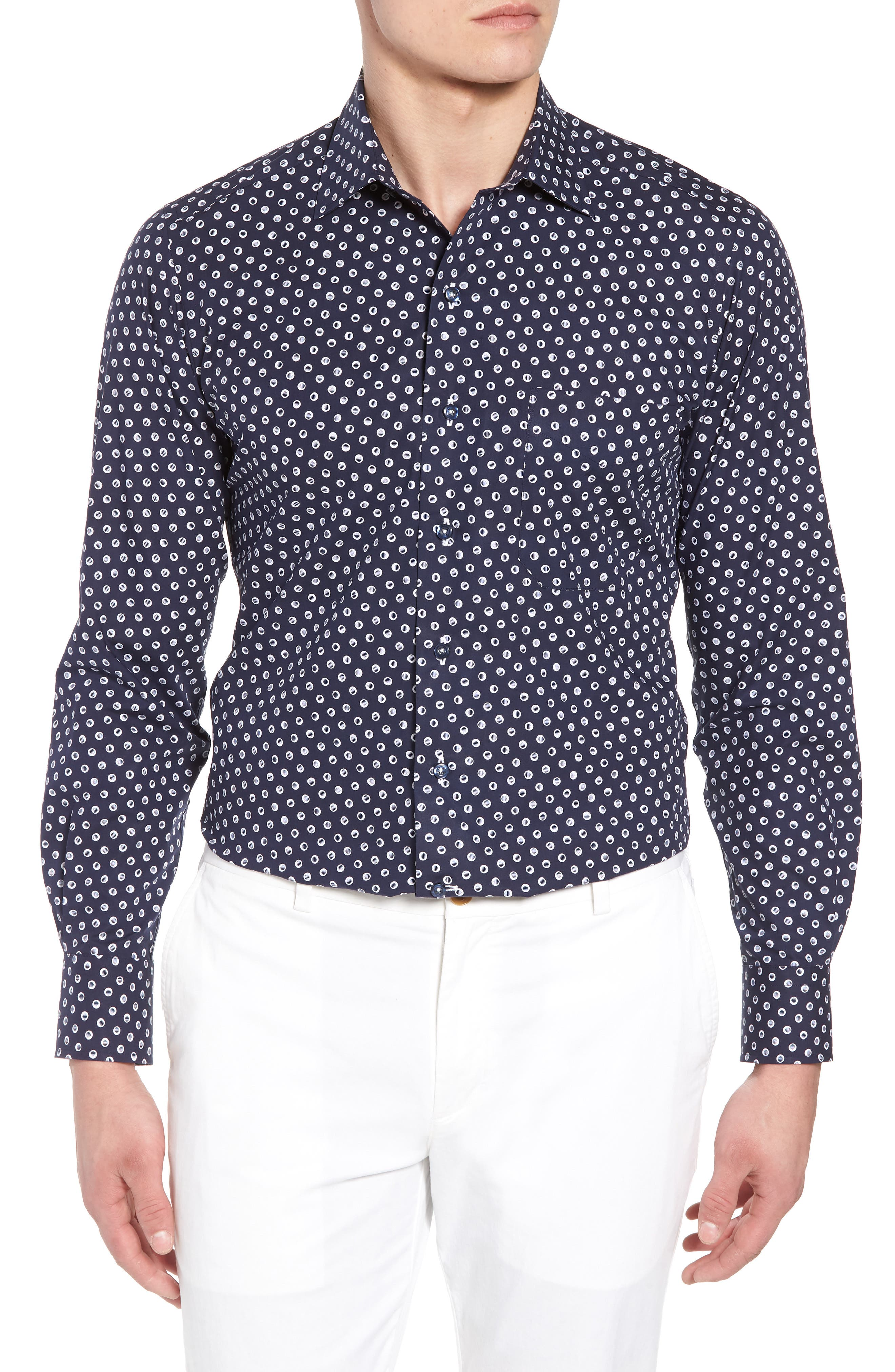 Regular Fit Dot Print Sport Shirt,                             Main thumbnail 1, color,                             Navy/ White