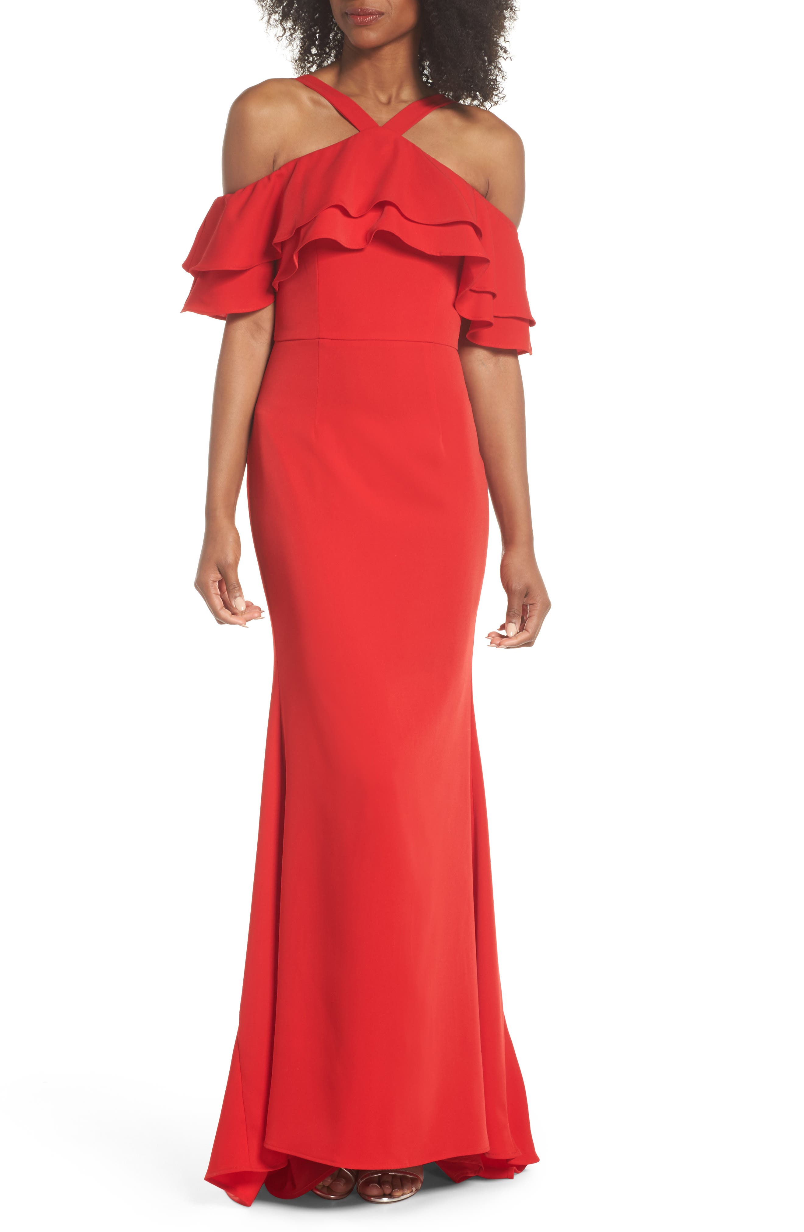 Dianne Ruffle Top Halter Gown,                             Main thumbnail 1, color,                             Red