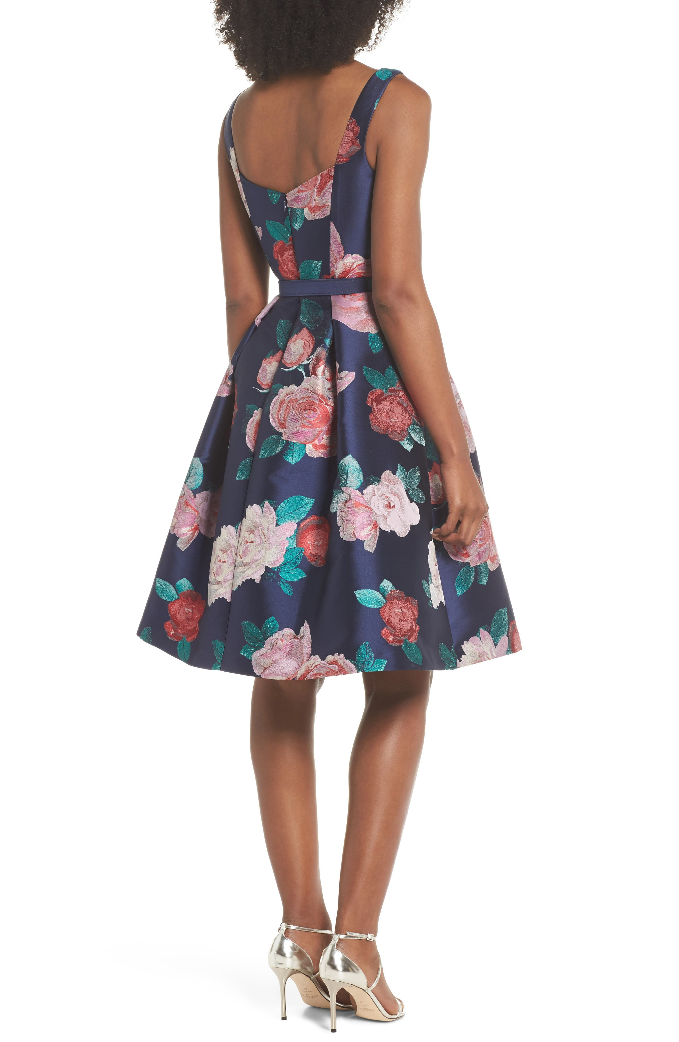 Floral Fit & Flare Dress,                             Alternate thumbnail 2, color,                             Navy