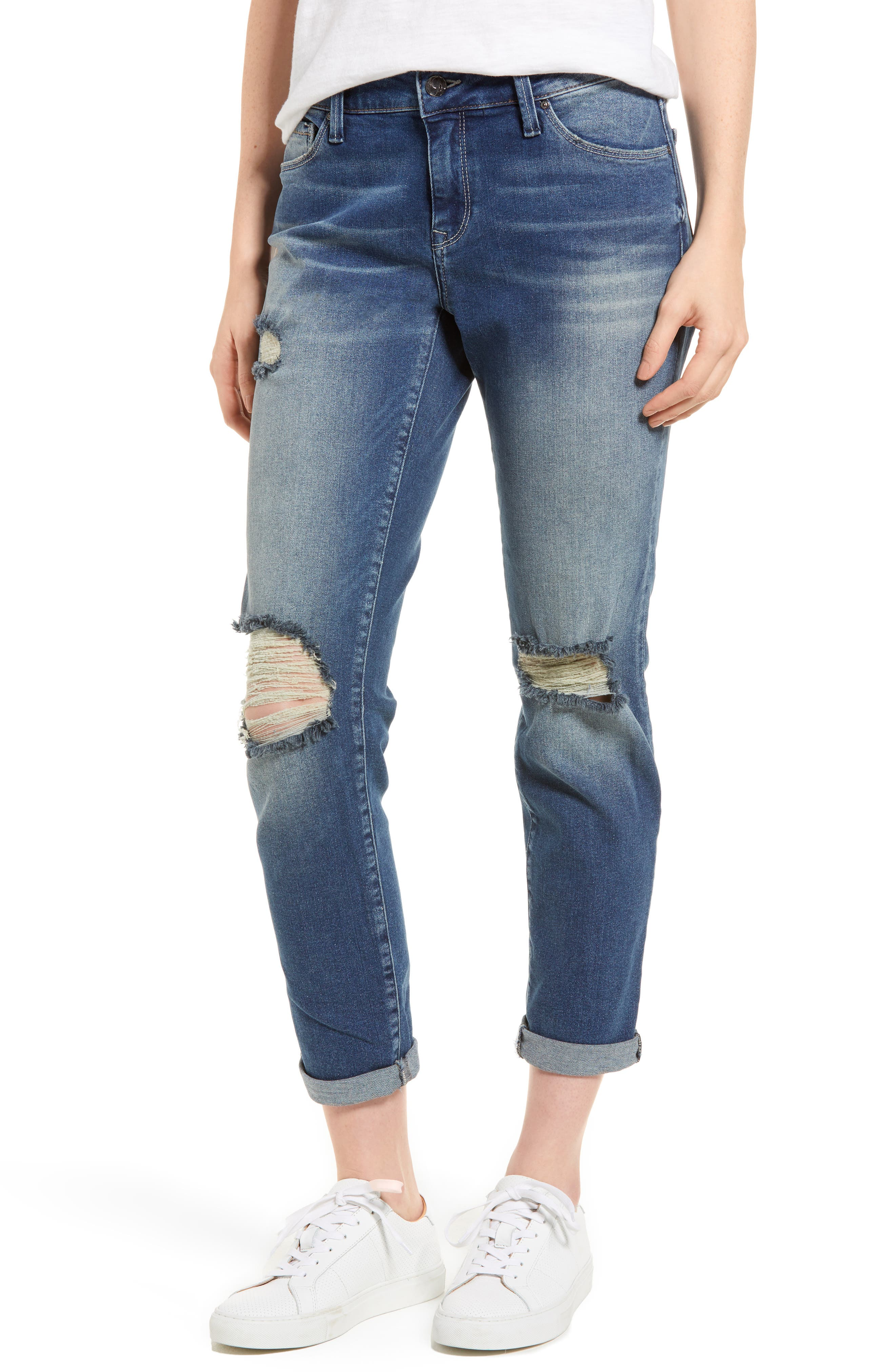 Ada Ripped Boyfriend Jeans,                             Main thumbnail 1, color,                             Mid Ripped Vintage